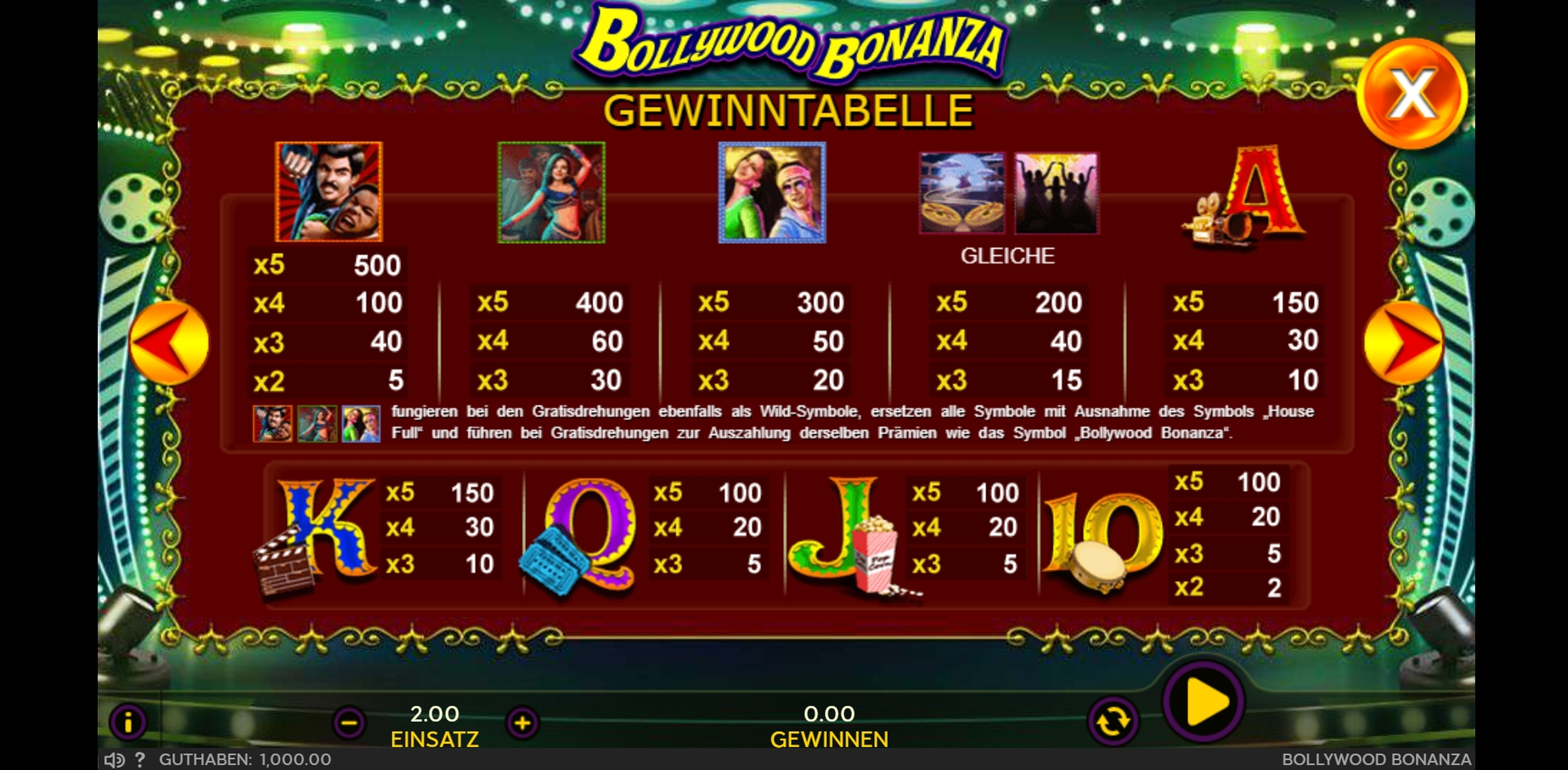 Info of Bollywood Bonanza Slot Game by 888 Gaming