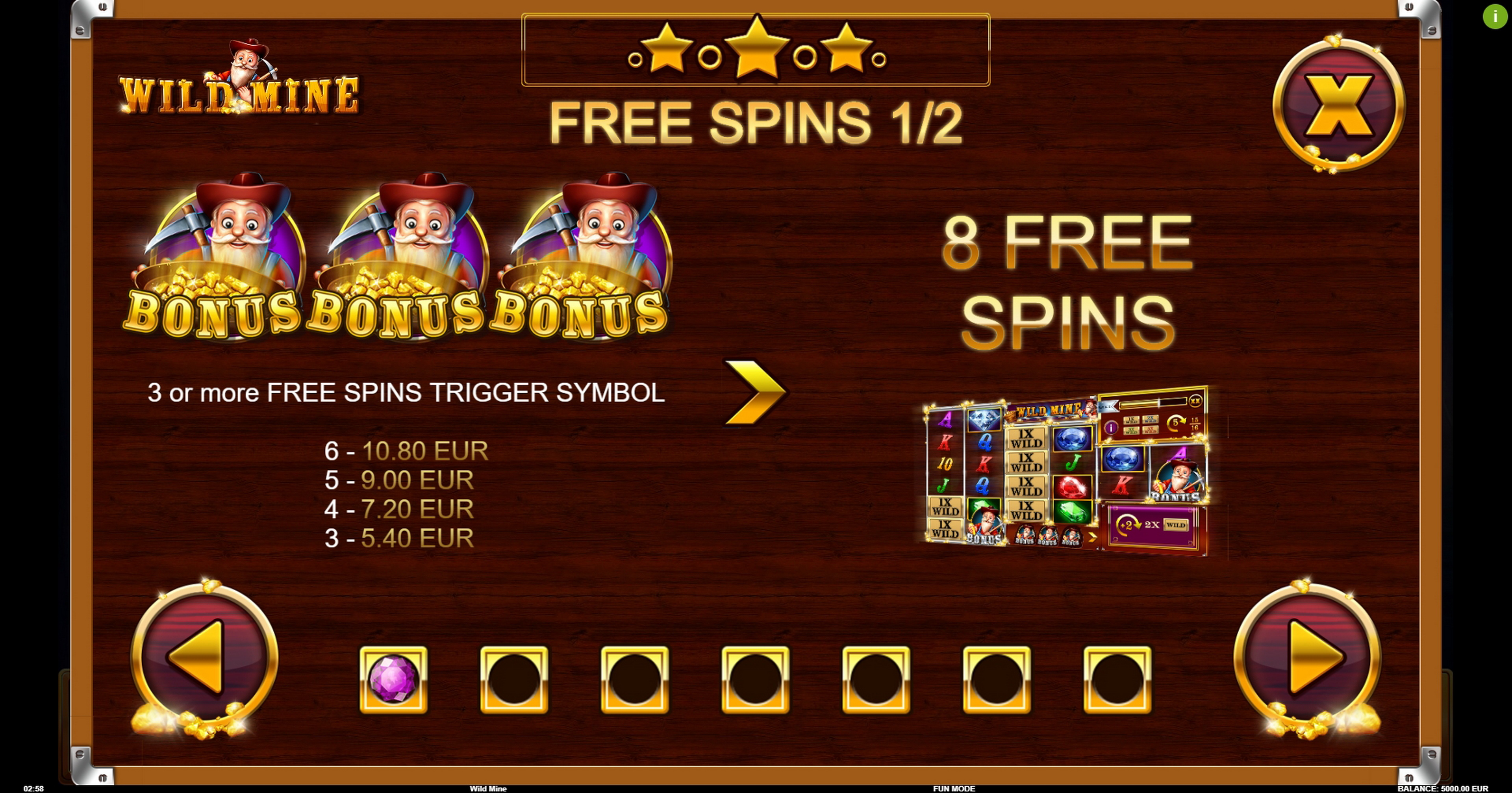 Info of Wild Mine Slot Game by BB Games