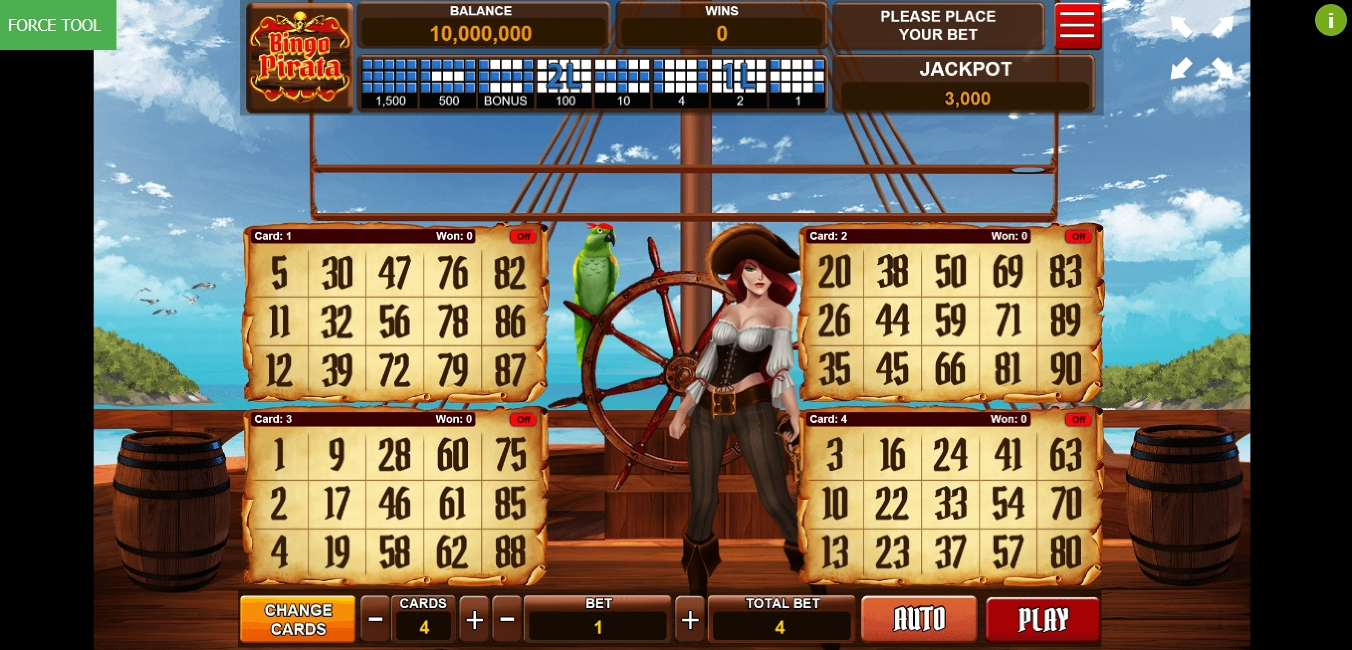 Reels in Bingo Pirata Slot Game by Caleta Gaming