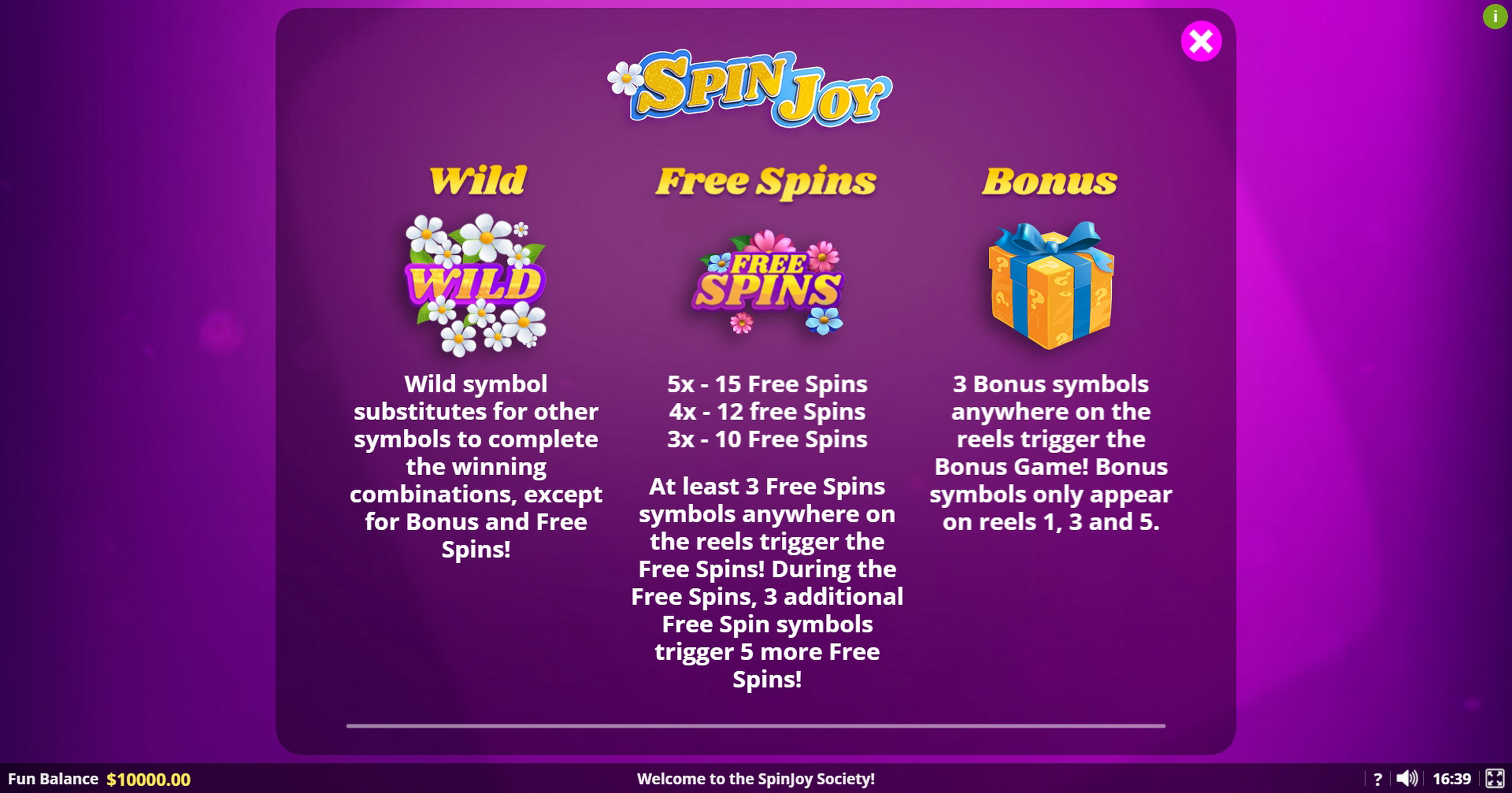Info of SpinJoy Society Slot Game by Lady Luck Games