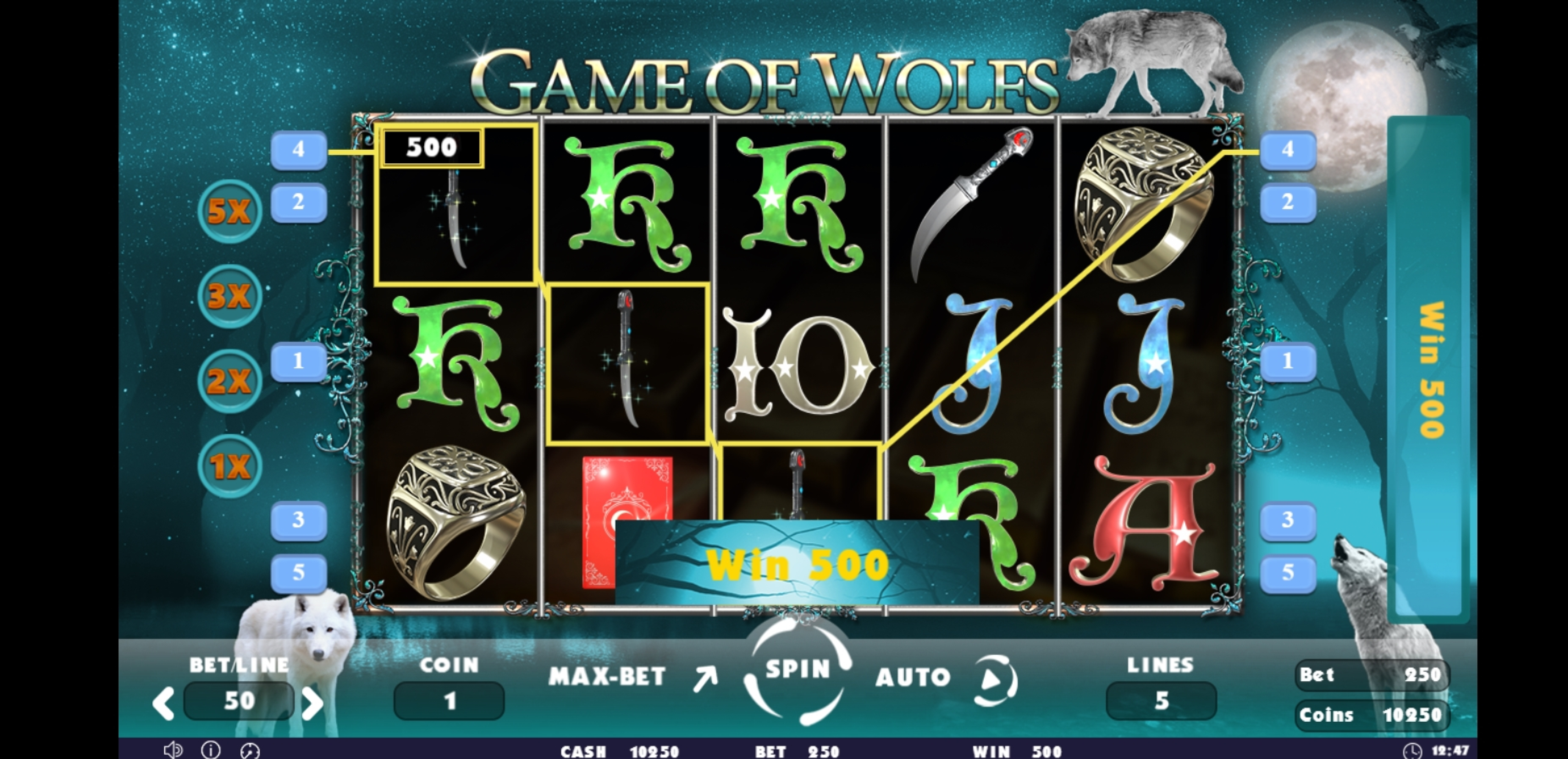 Win Money in Game of Wolfs Free Slot Game by Others