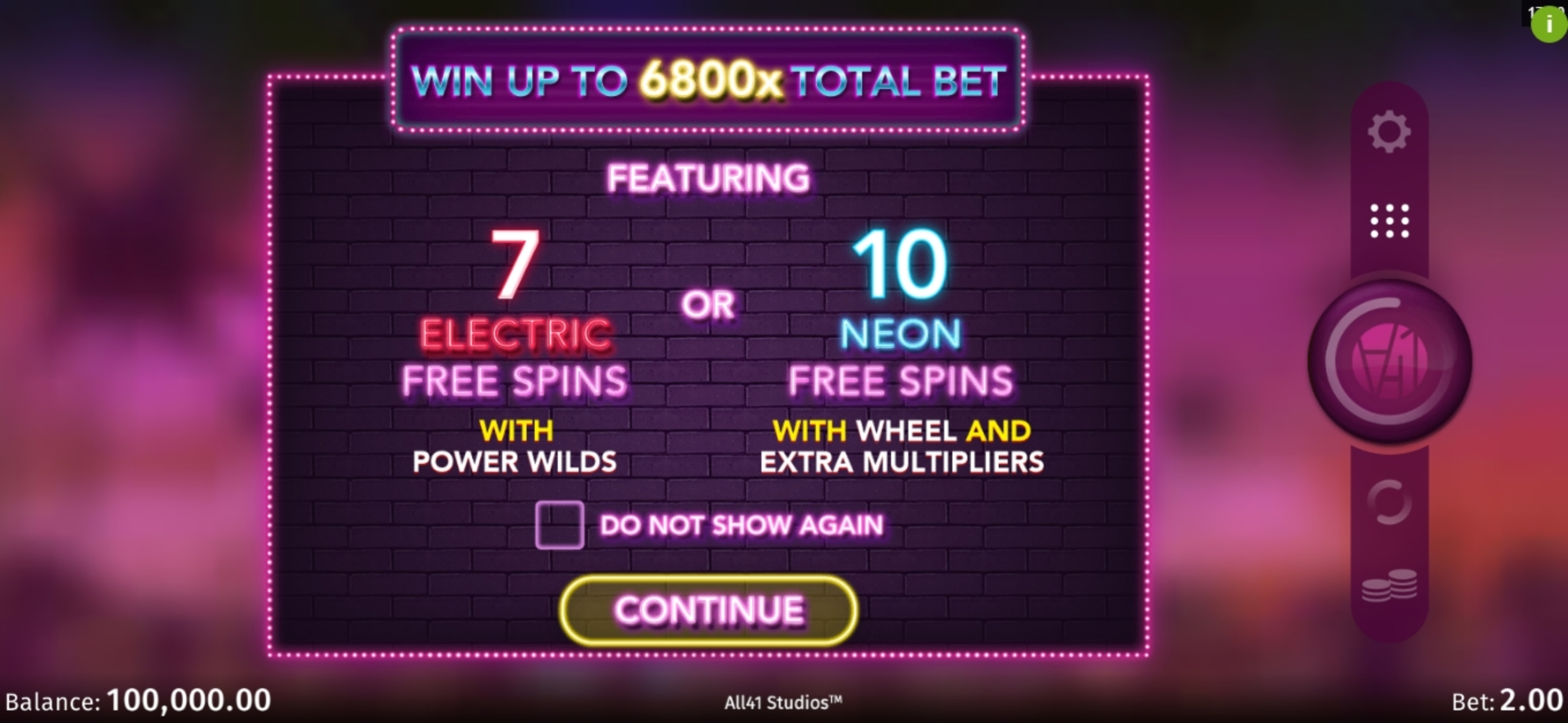 Play Electric Avenue Free Casino Slot Game by All41 Studios