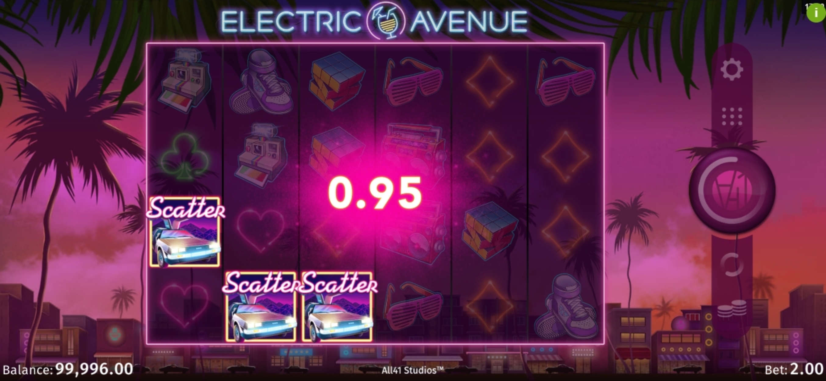 Win Money in Electric Avenue Free Slot Game by All41 Studios