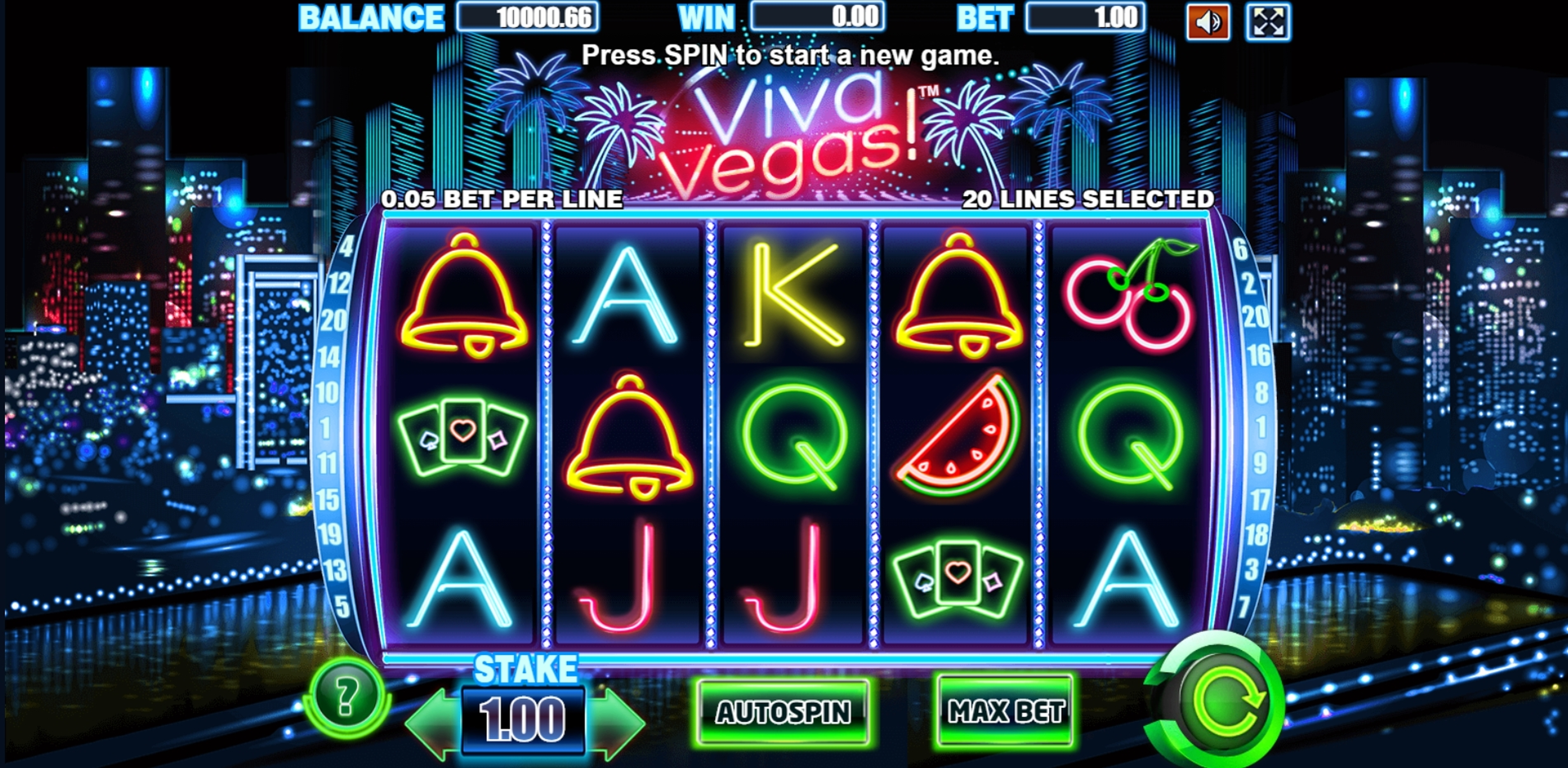 Reels in Viva Vegas Slot Game by Allbet Gaming