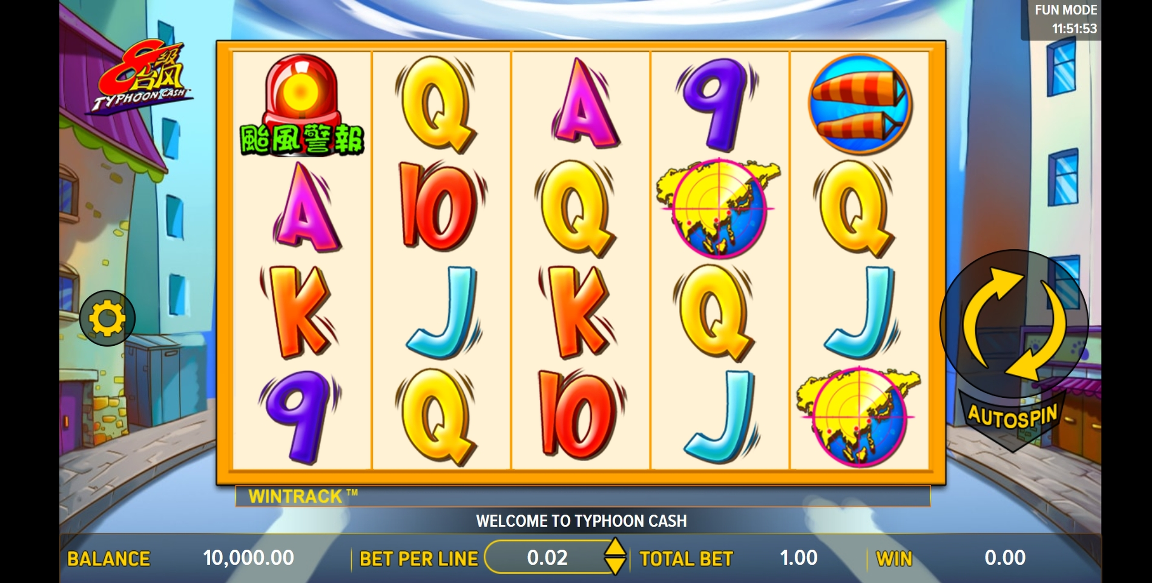 Reels in Typhoon Cash Slot Game by Aspect Gaming