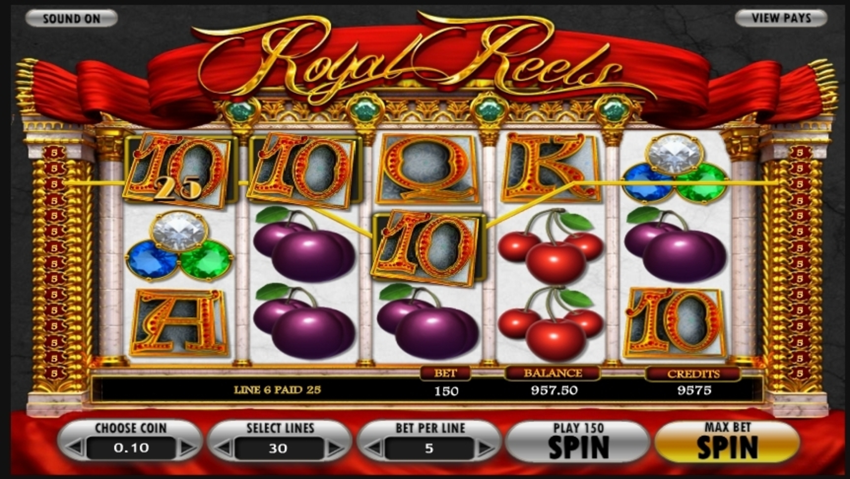 Win Money in Royal Reels Free Slot Game by Betsoft