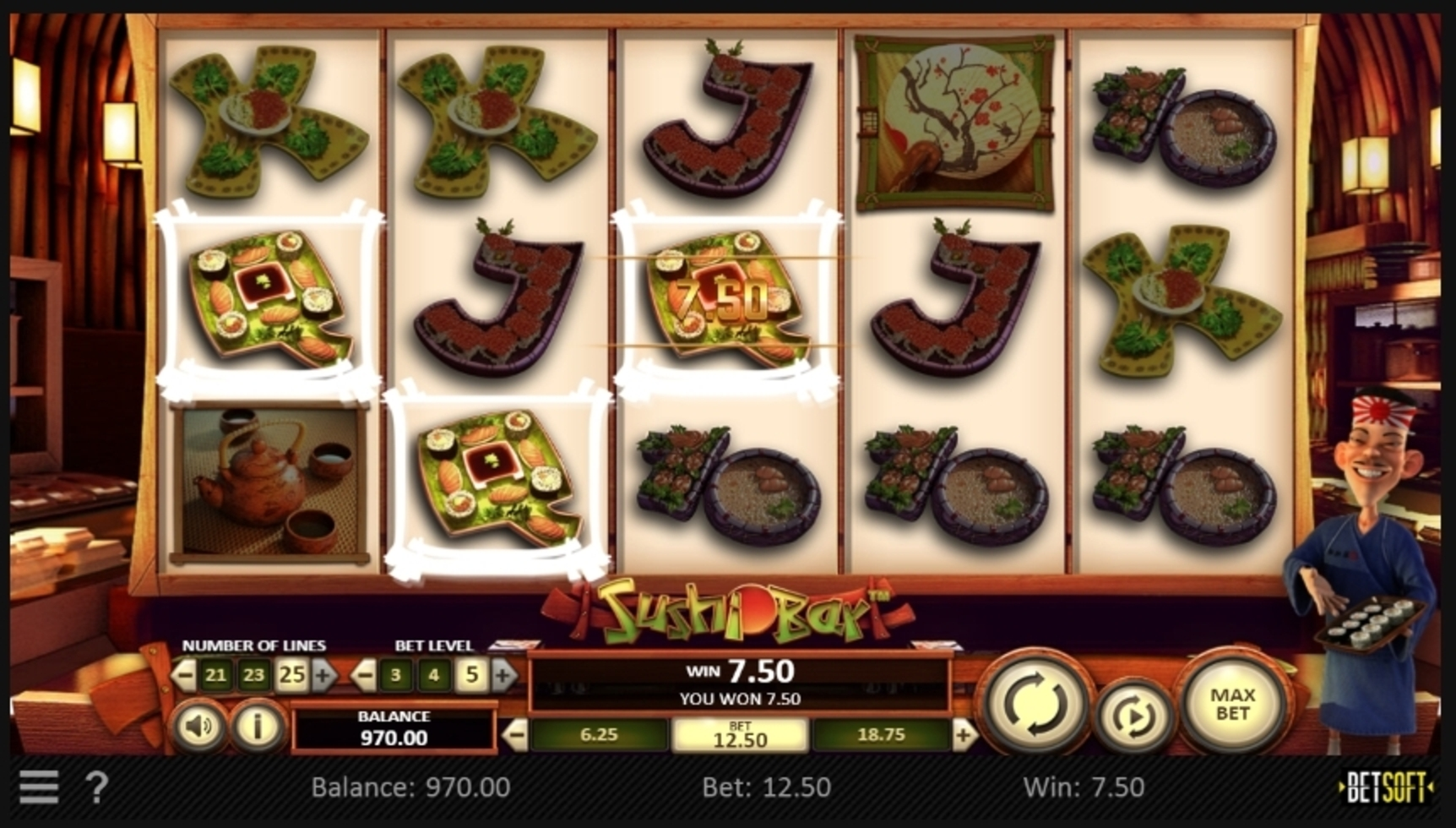 Win Money in Sushi Bar Free Slot Game by Betsoft