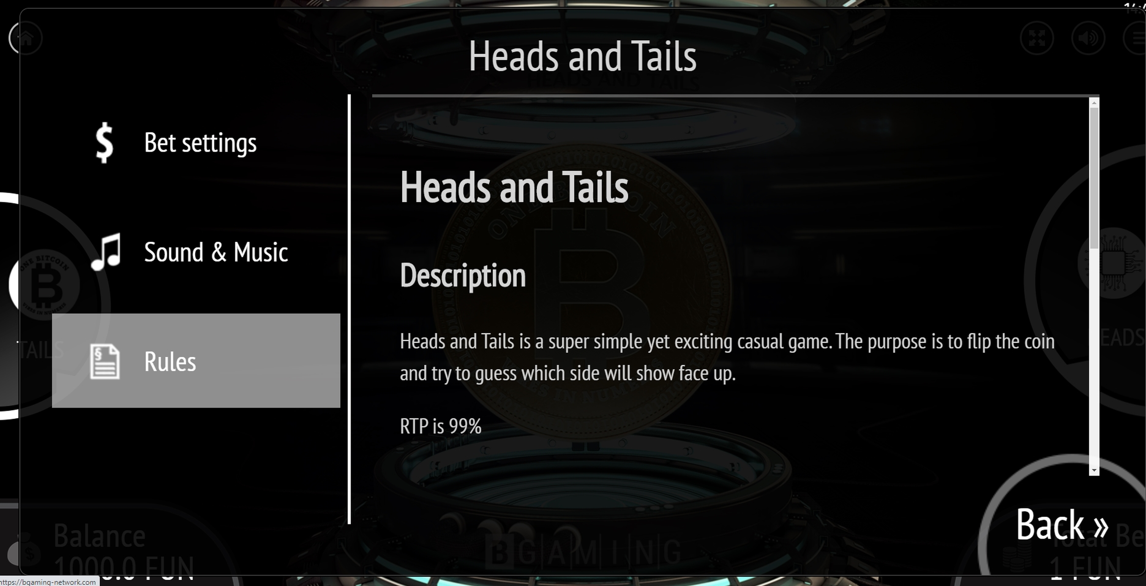 Info of Heads & Tails (BGaming) Slot Game by BGAMING