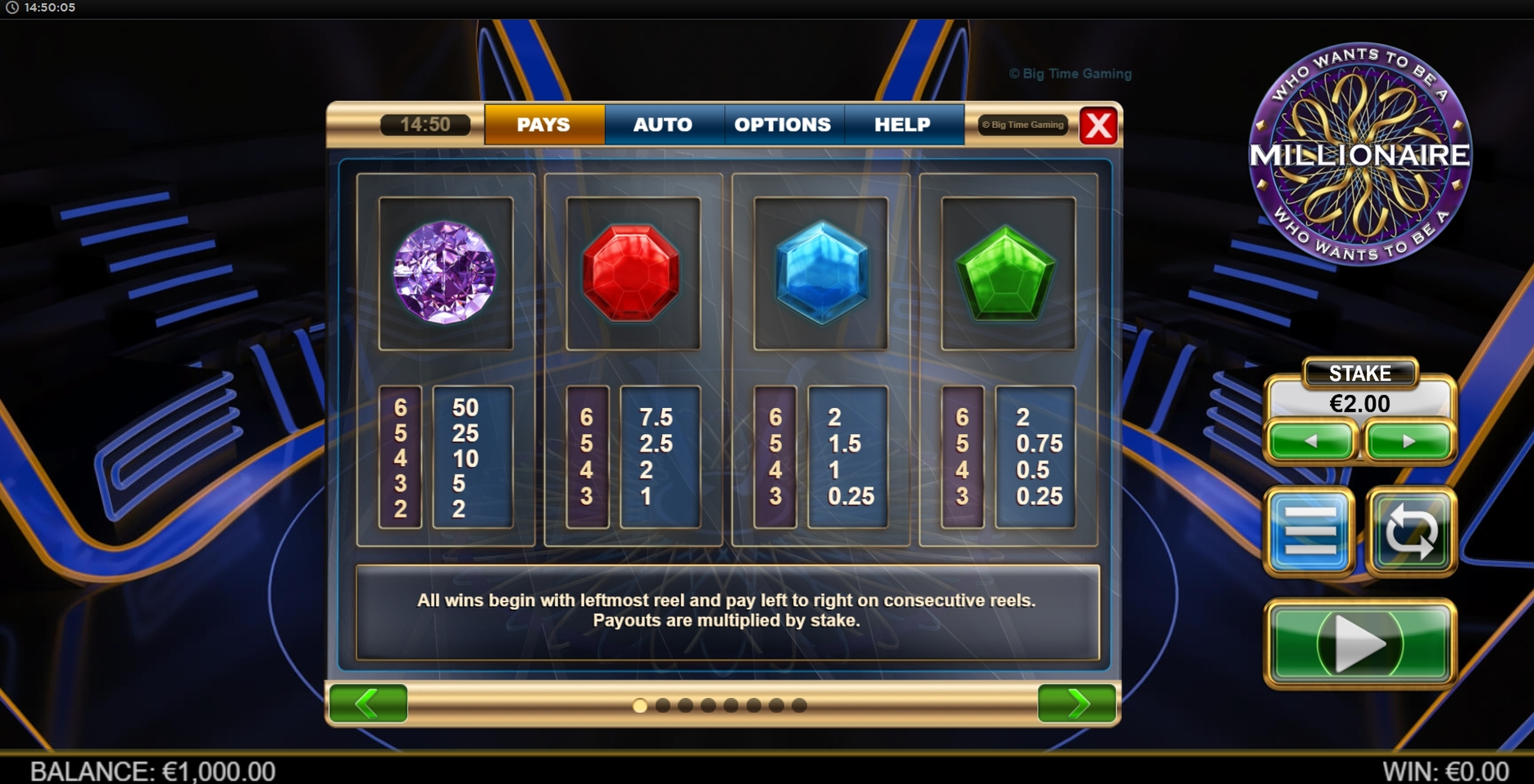 Info of Who Wants To Be A Millionaire Megaways Slot Game by Big Time Gaming