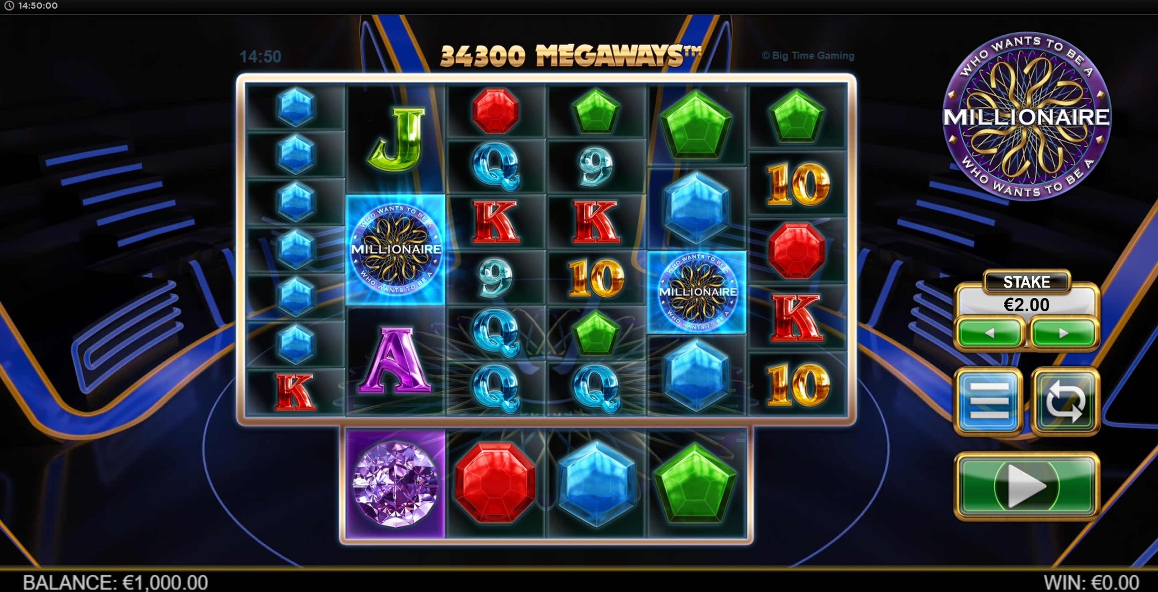Reels in Who Wants To Be A Millionaire Megaways Slot Game by Big Time Gaming