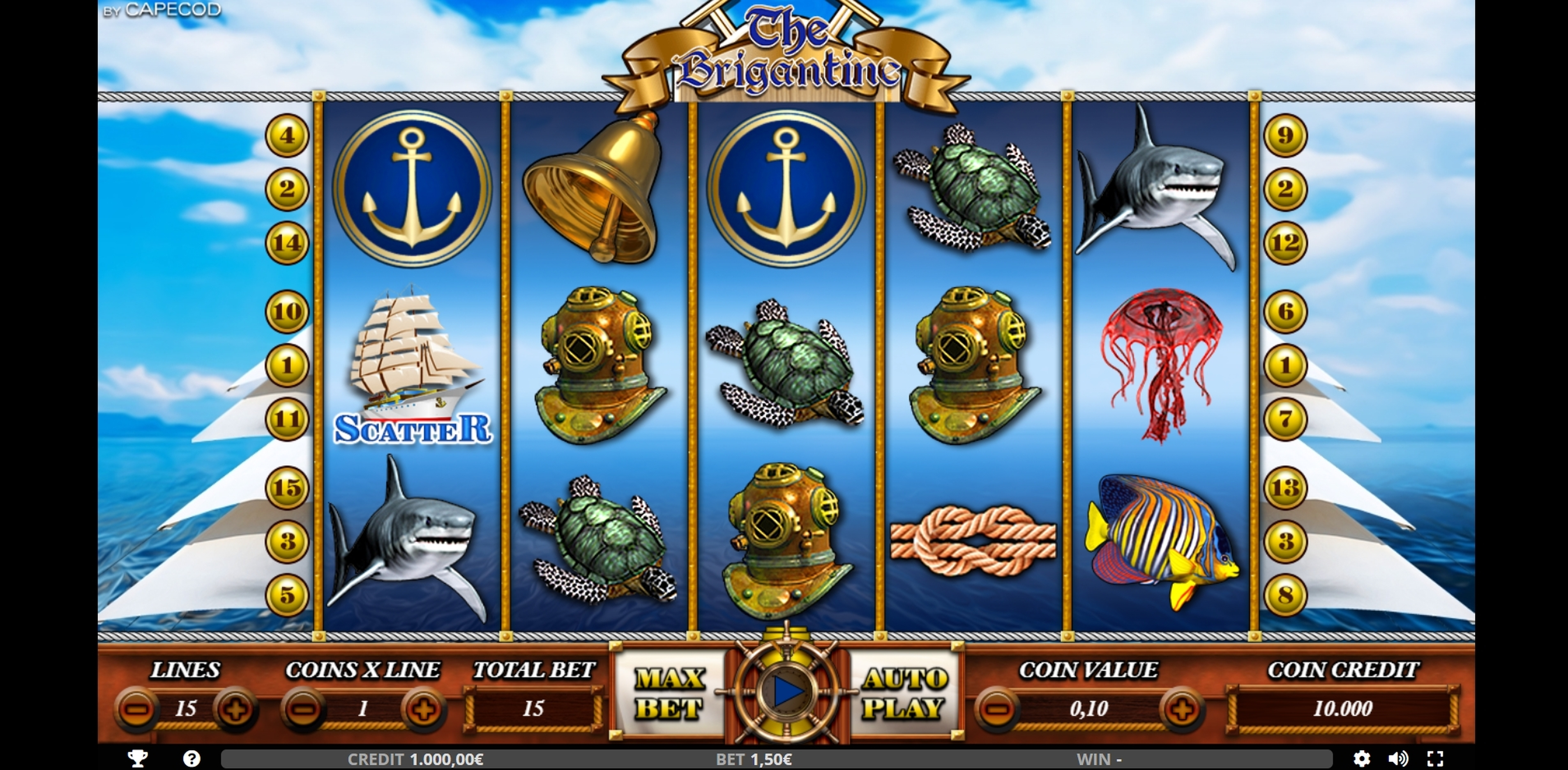 Reels in THE BRIG Slot Game by Capecod Gaming