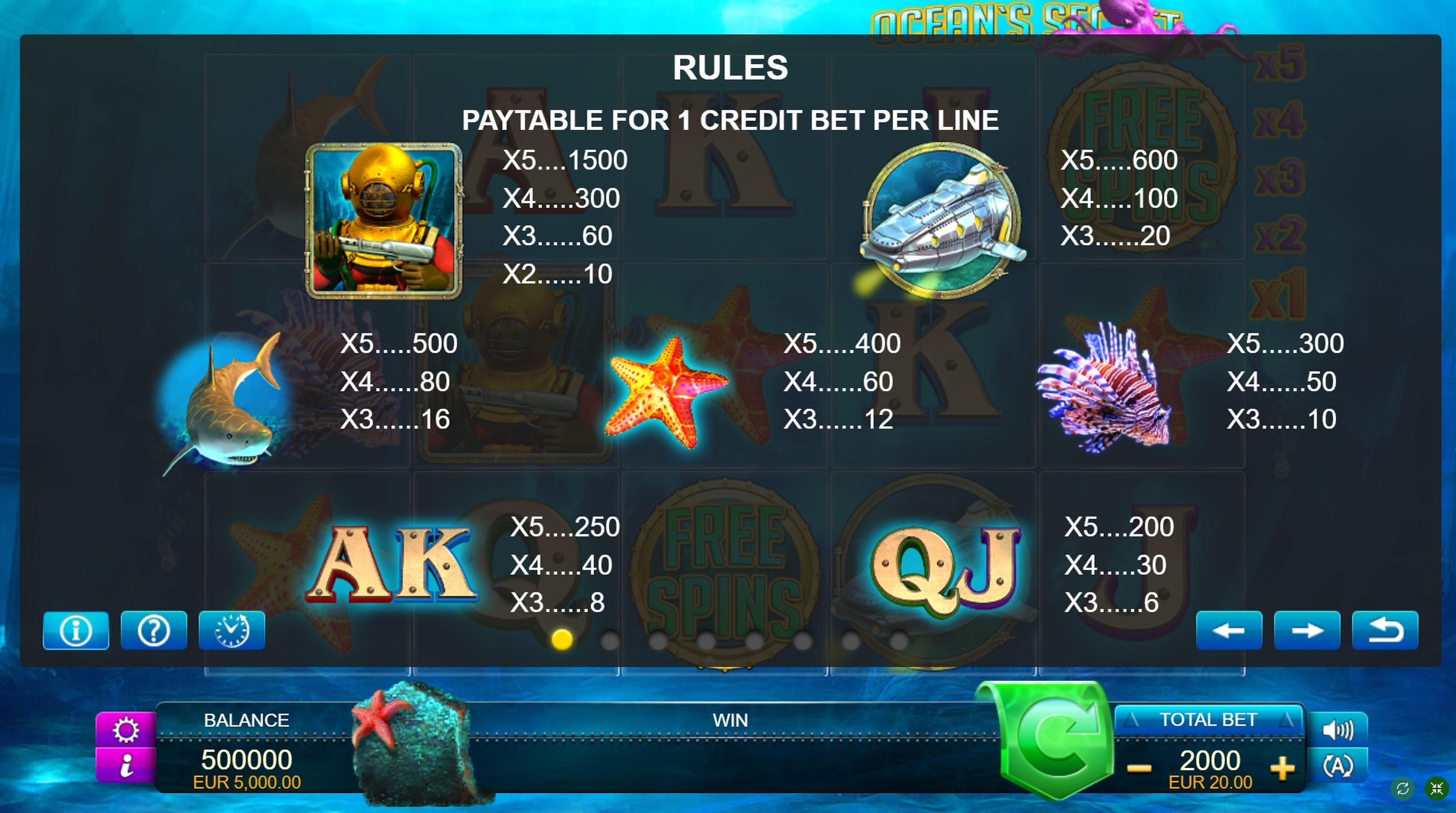 Info of Ocean's Secret Slot Game by FUGA Gaming