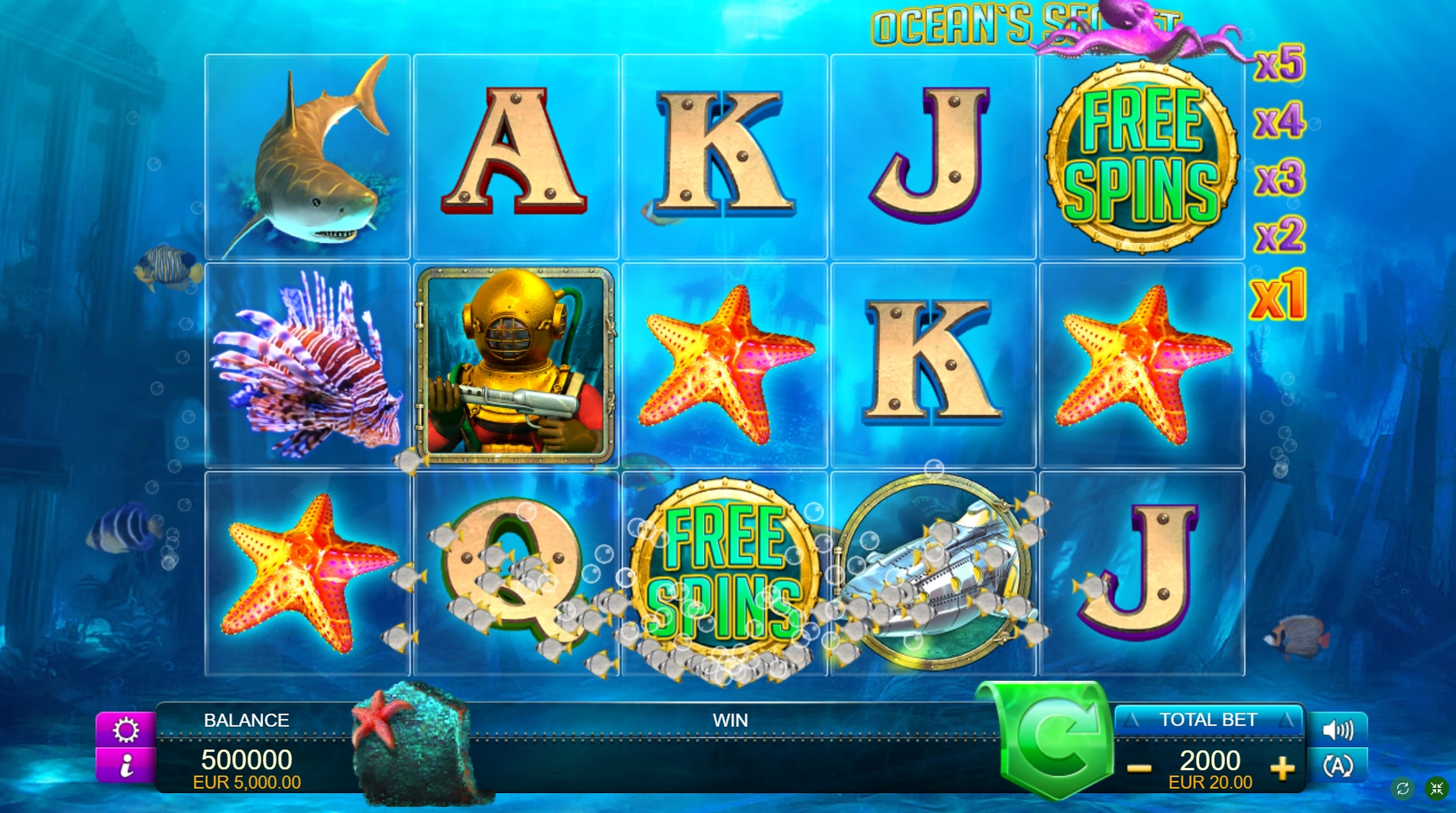 Reels in Ocean's Secret Slot Game by FUGA Gaming