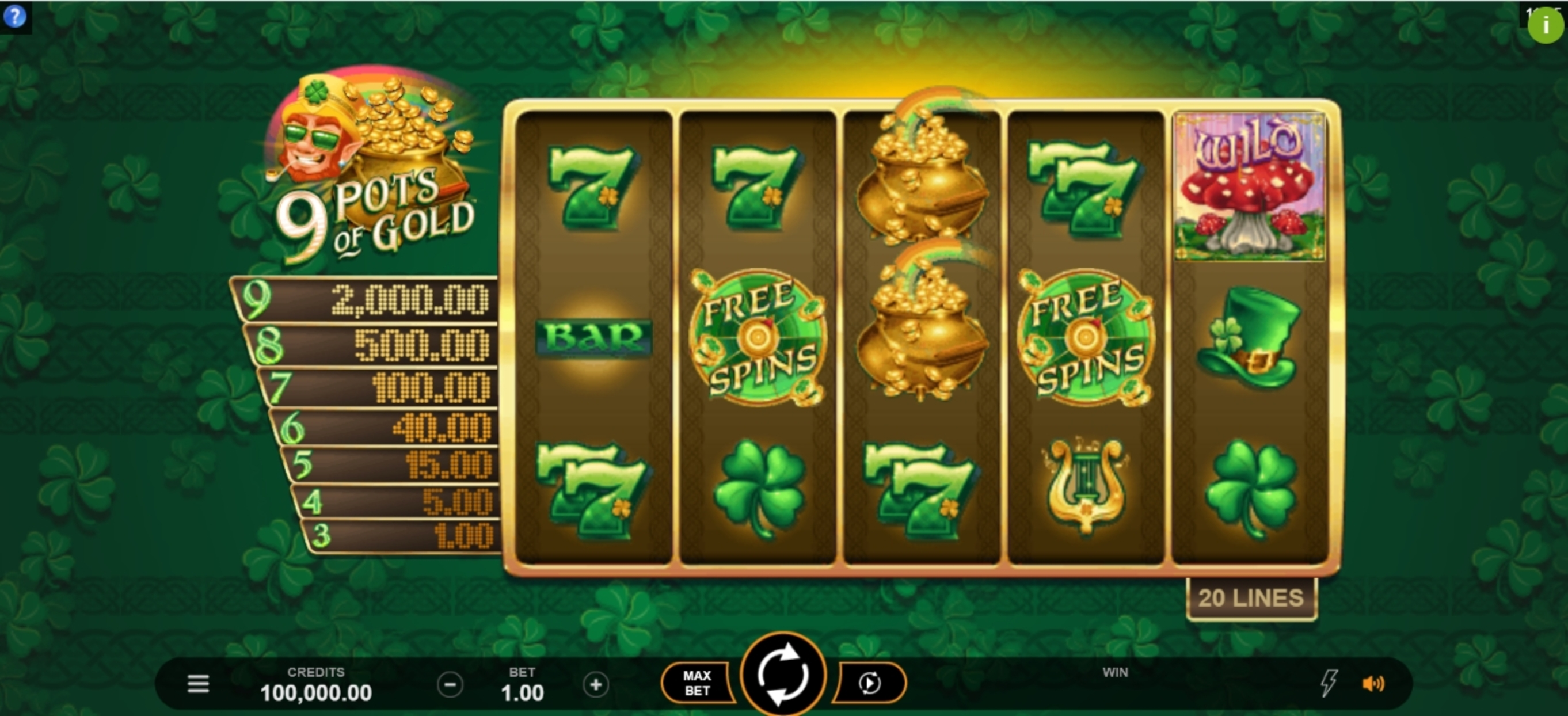 Reels in 9 Pots of Gold Slot Game by Gameburger Studios