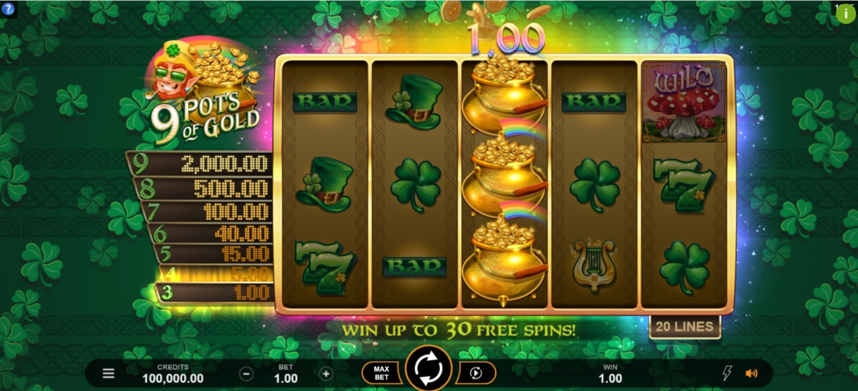 Win Money in 9 Pots of Gold Free Slot Game by Gameburger Studios
