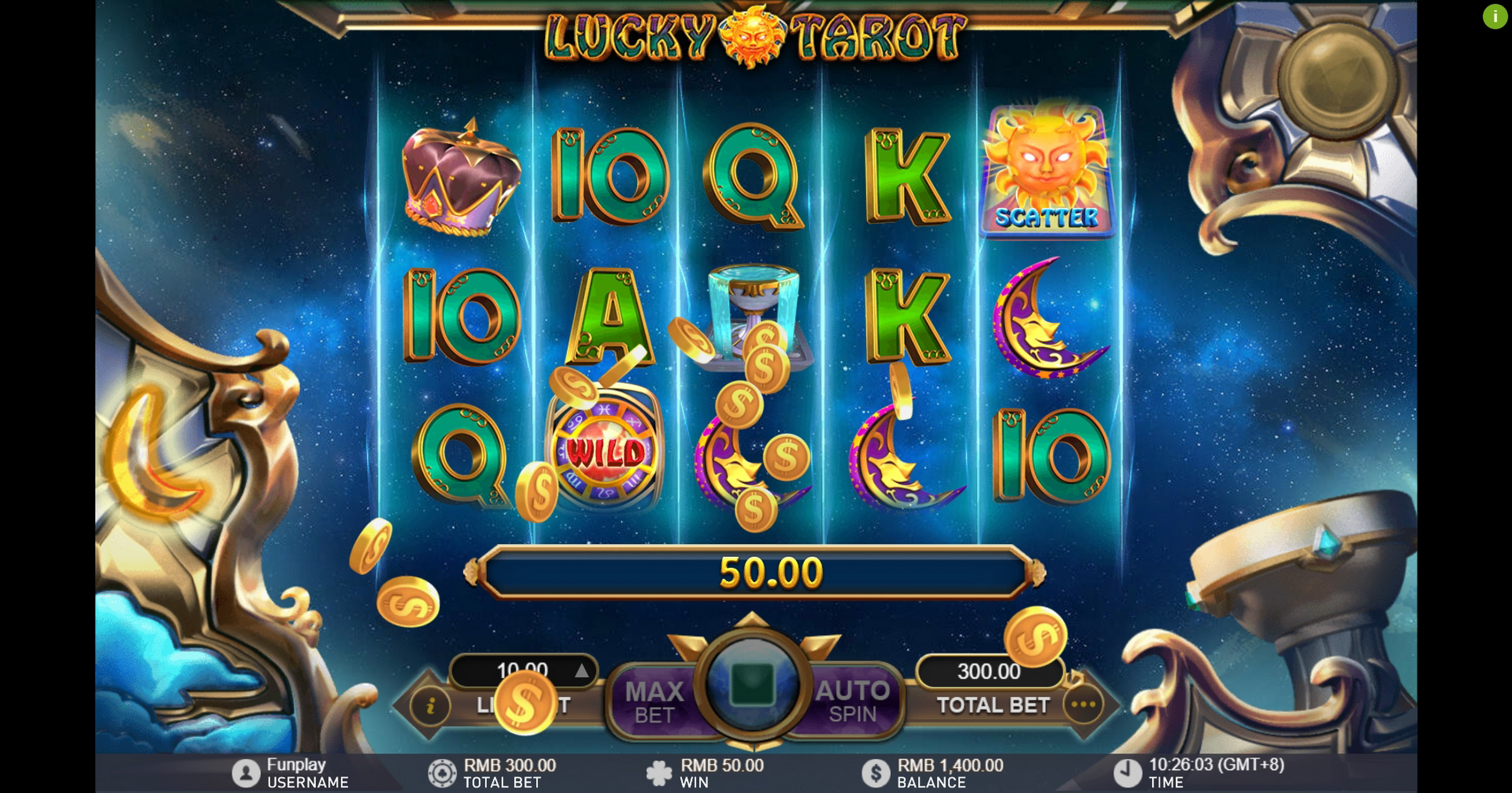 Win Money in Lucky Tarot Free Slot Game by Gameplay Interactive