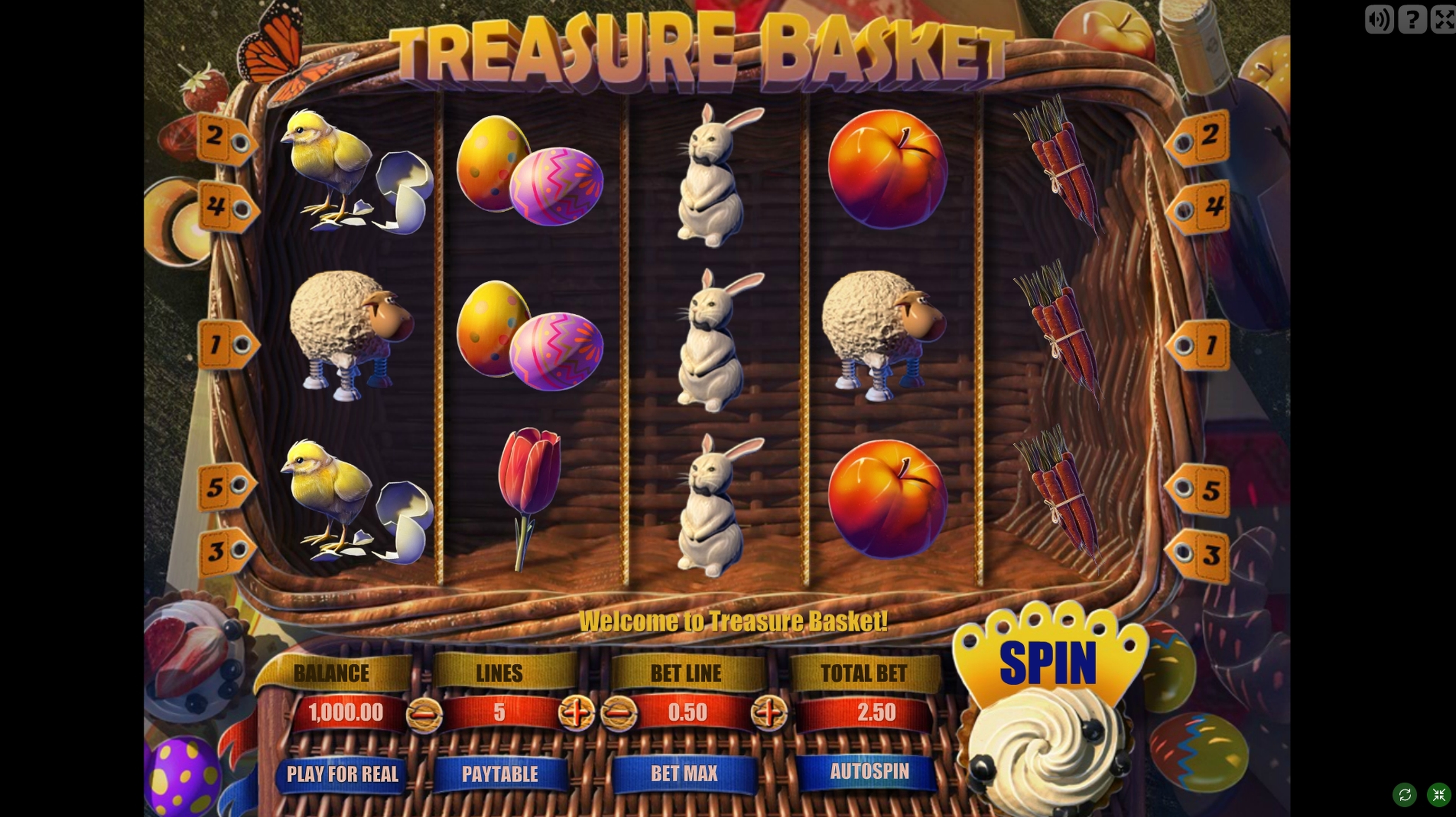 Reels in Treasure Basket Slot Game by Gamescale Software
