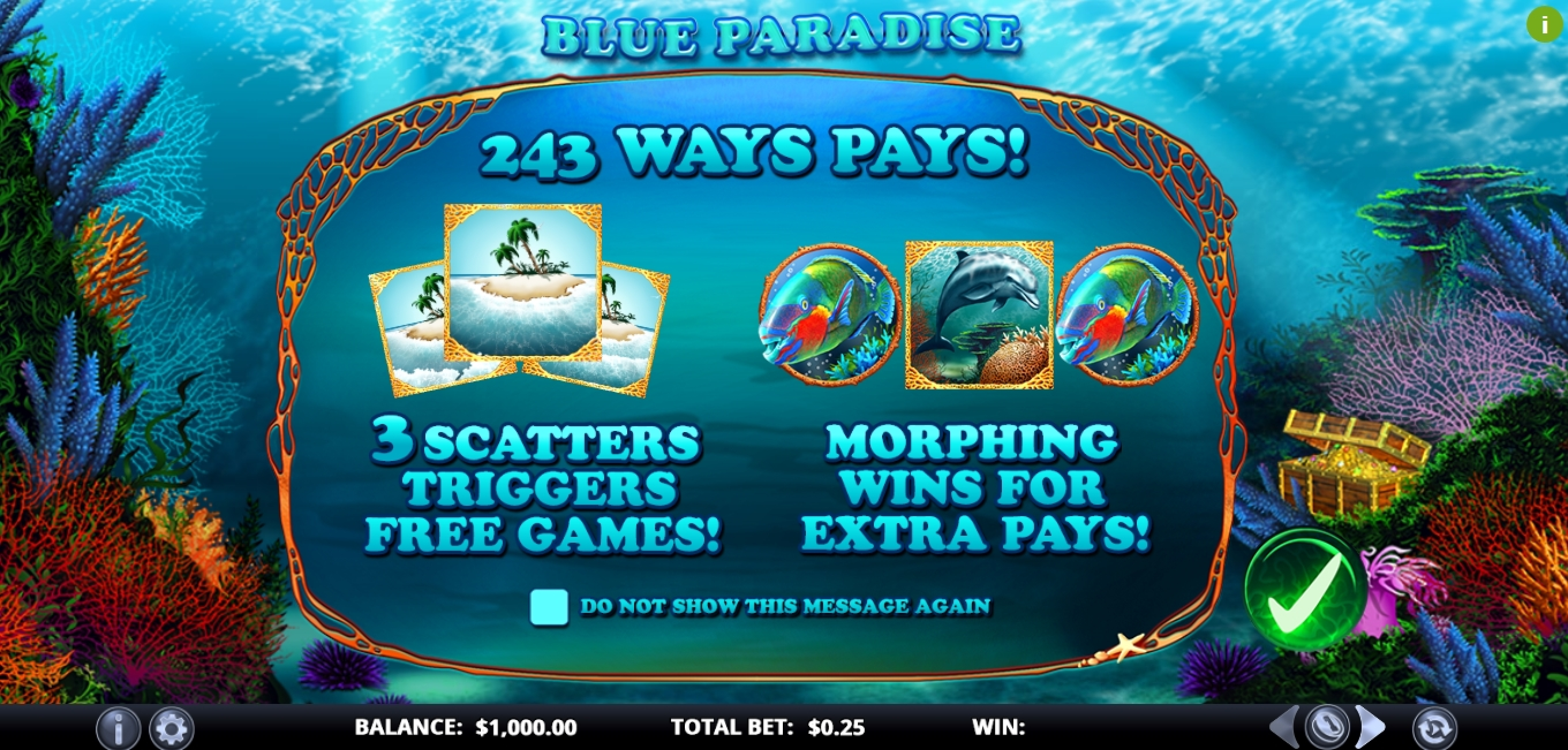 Play Blue Paradise Free Casino Slot Game by Games Lab
