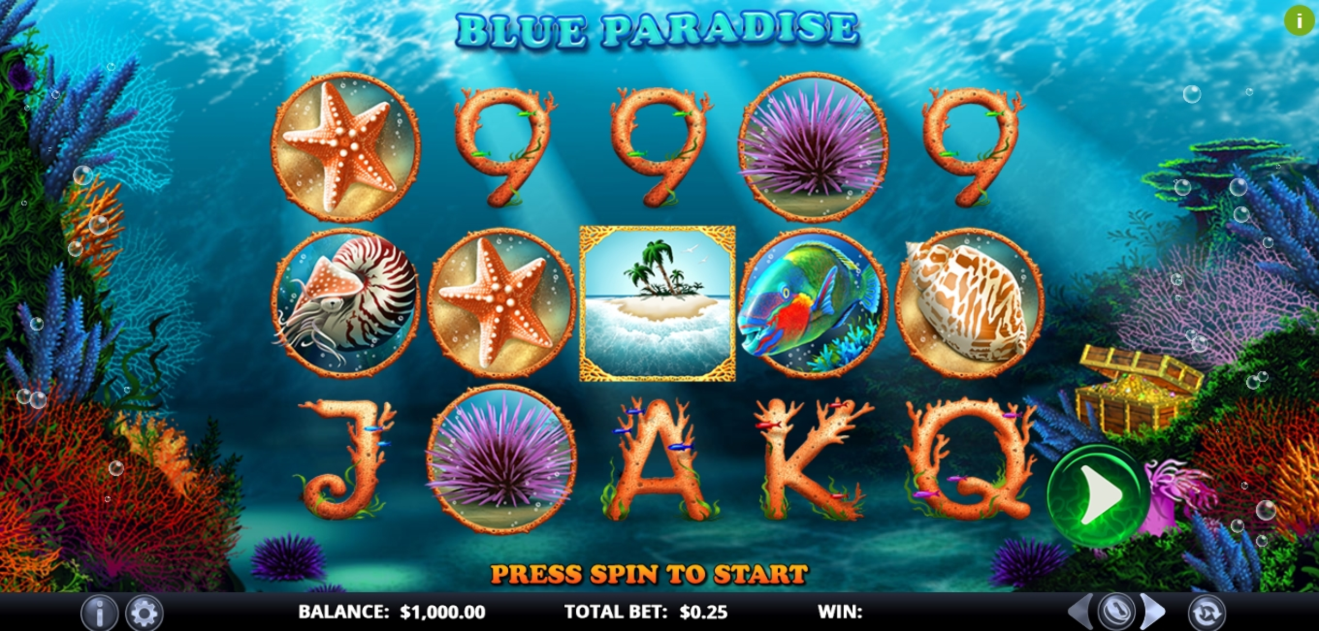 Reels in Blue Paradise Slot Game by Games Lab