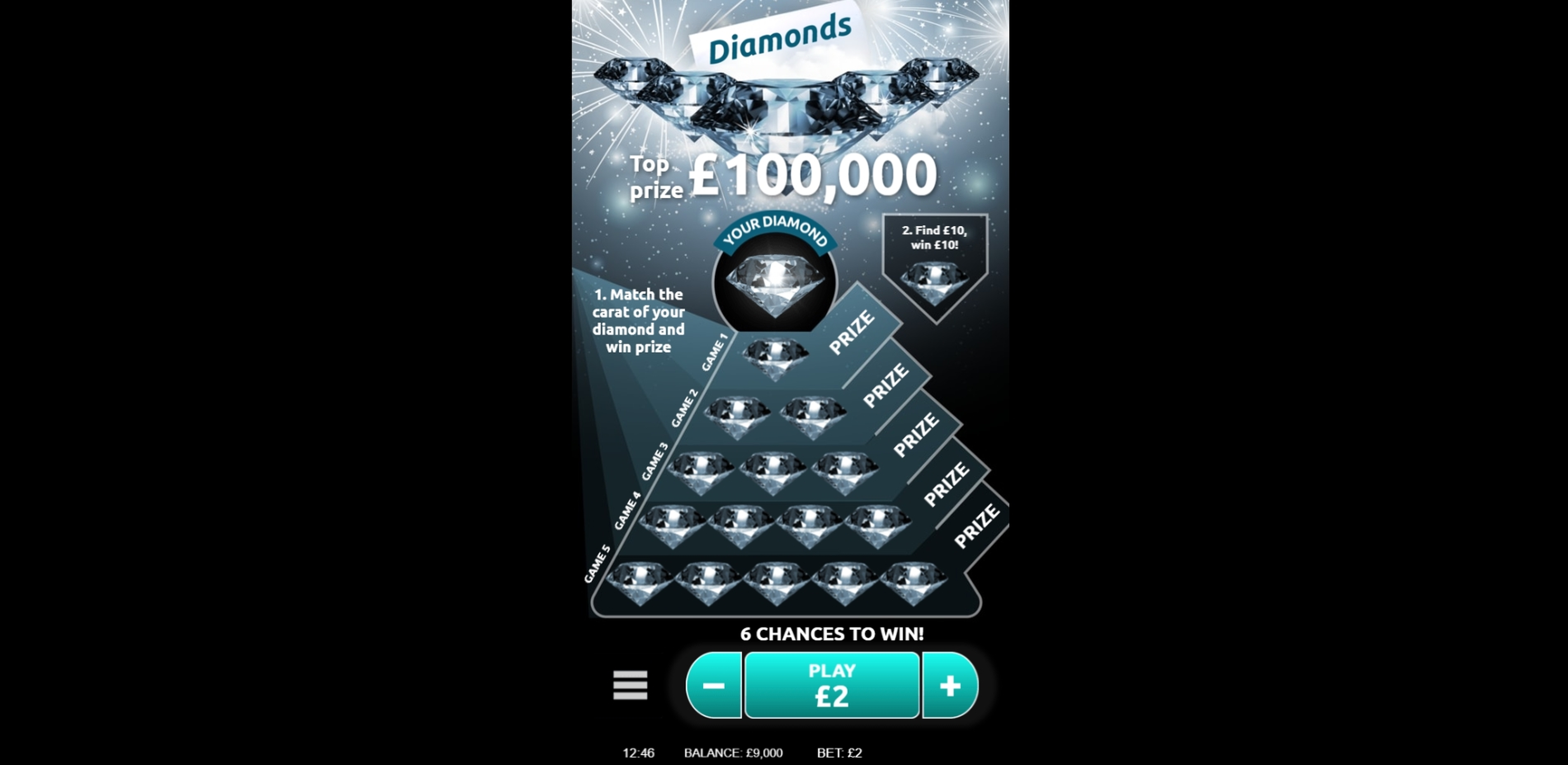Reels in Diamond Slot Game by Gamevy