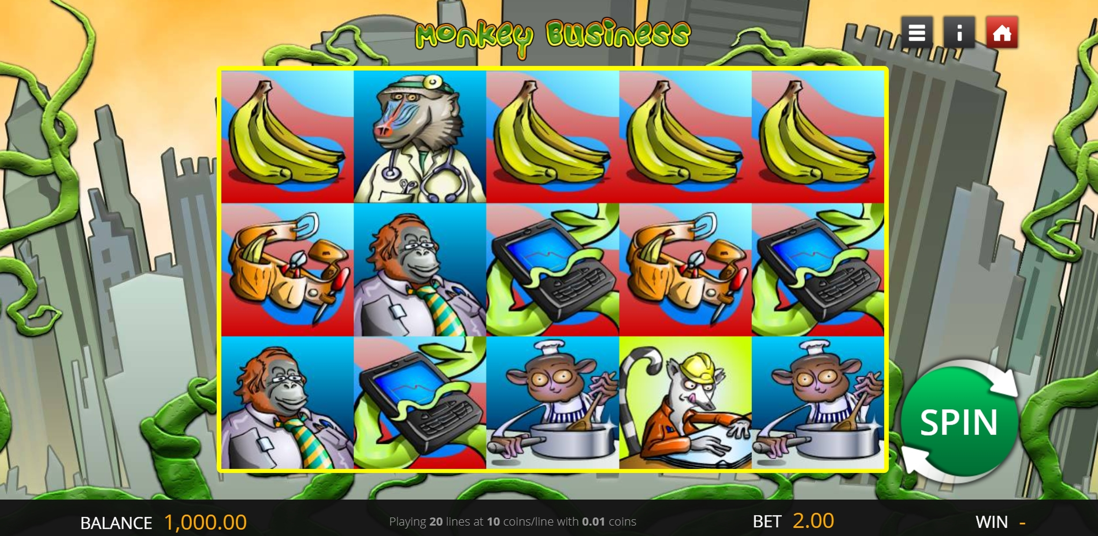 Reels in Monkey Business (Genii) Slot Game by Genii