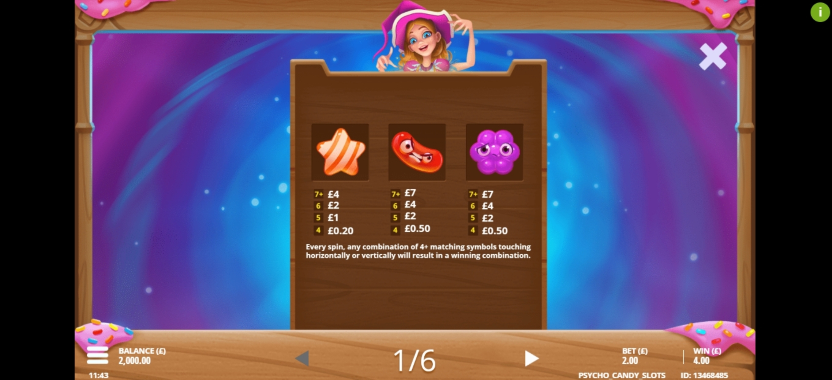 Info of Psycho Candies Slot Game by Gluck Games
