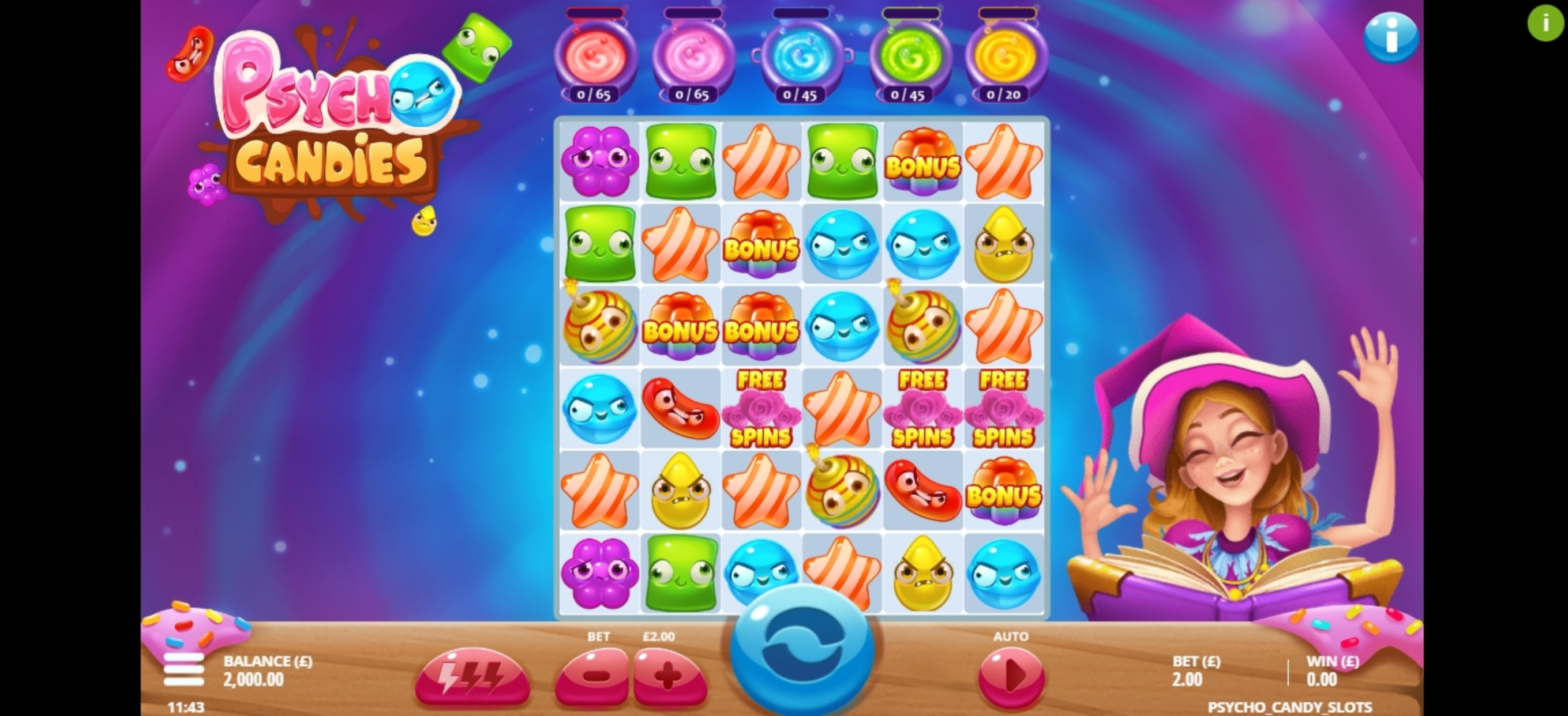 Reels in Psycho Candies Slot Game by Gluck Games