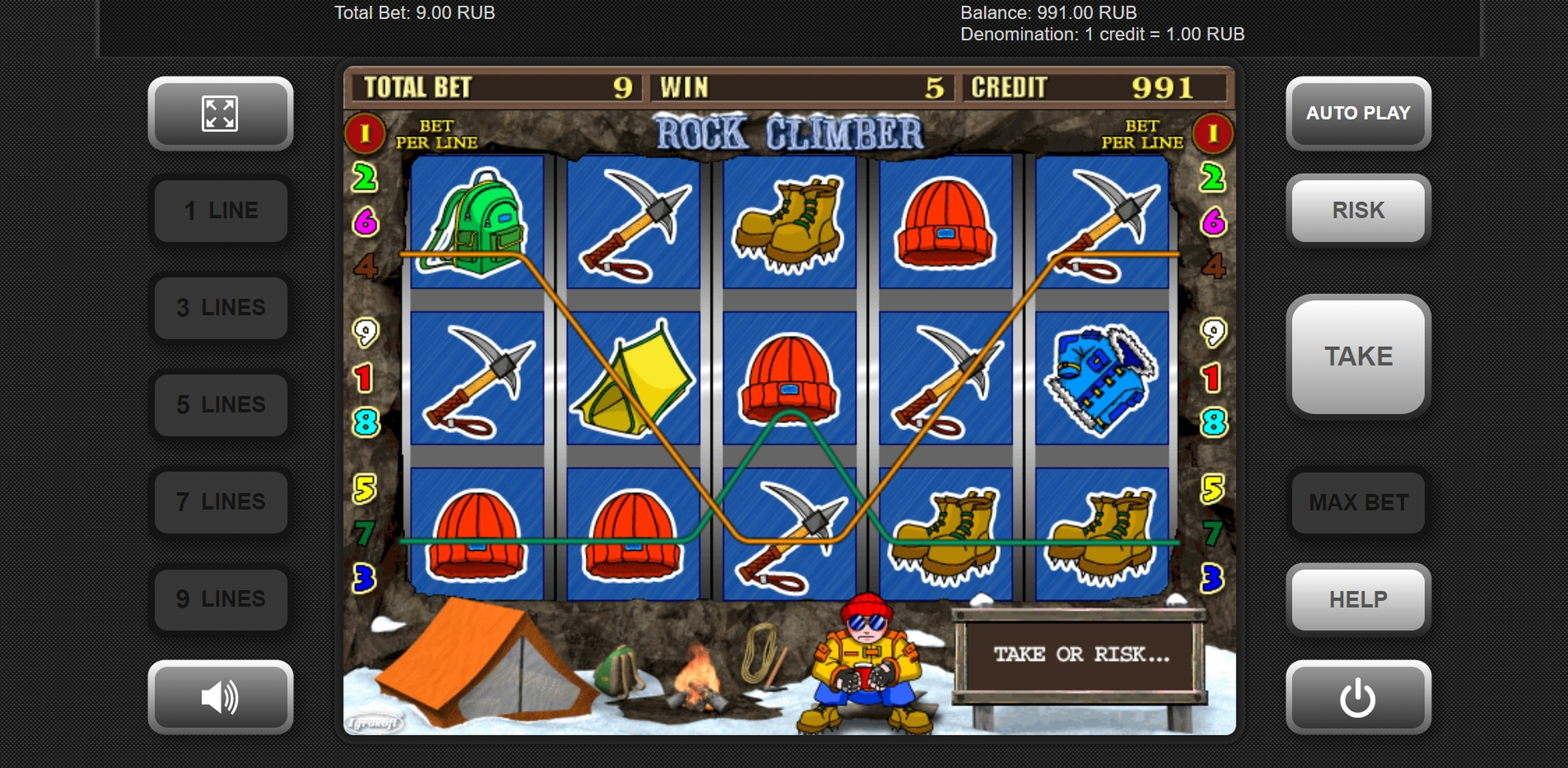 Win Money in Rock Climber Free Slot Game by Igrosoft
