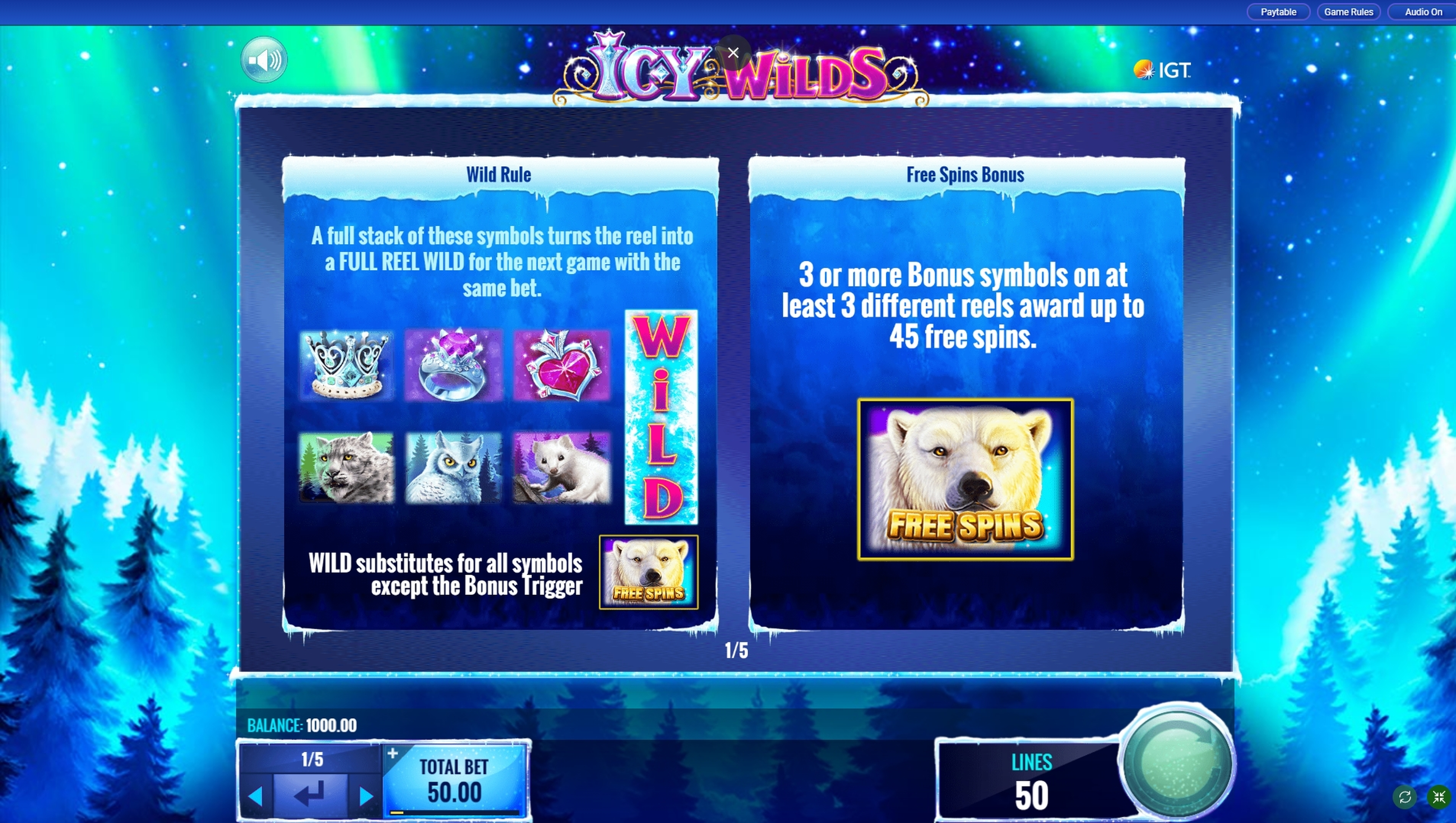 Info of Icy Wilds Slot Game by IGT