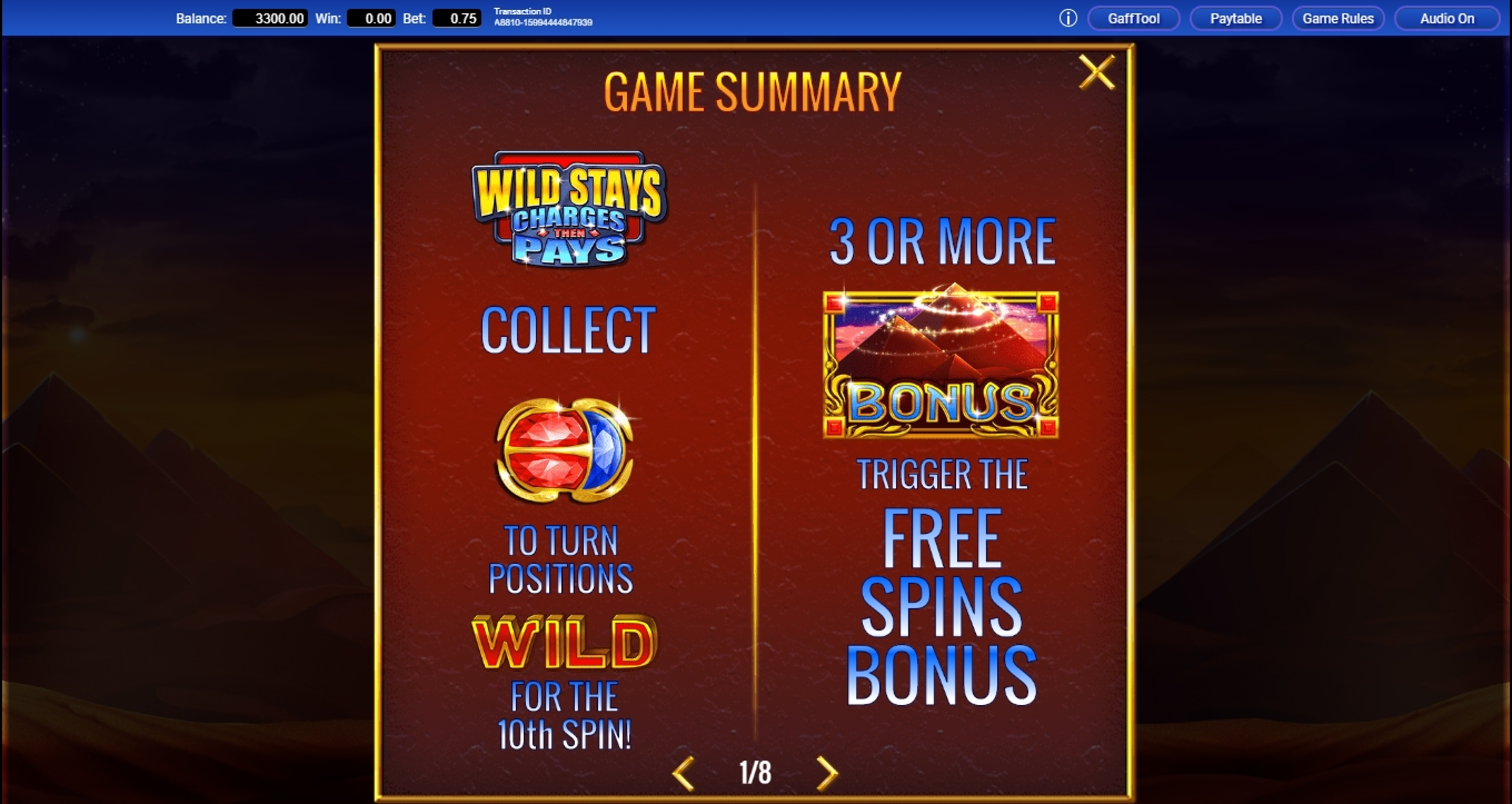 Info of Scarab Slot Game by IGT