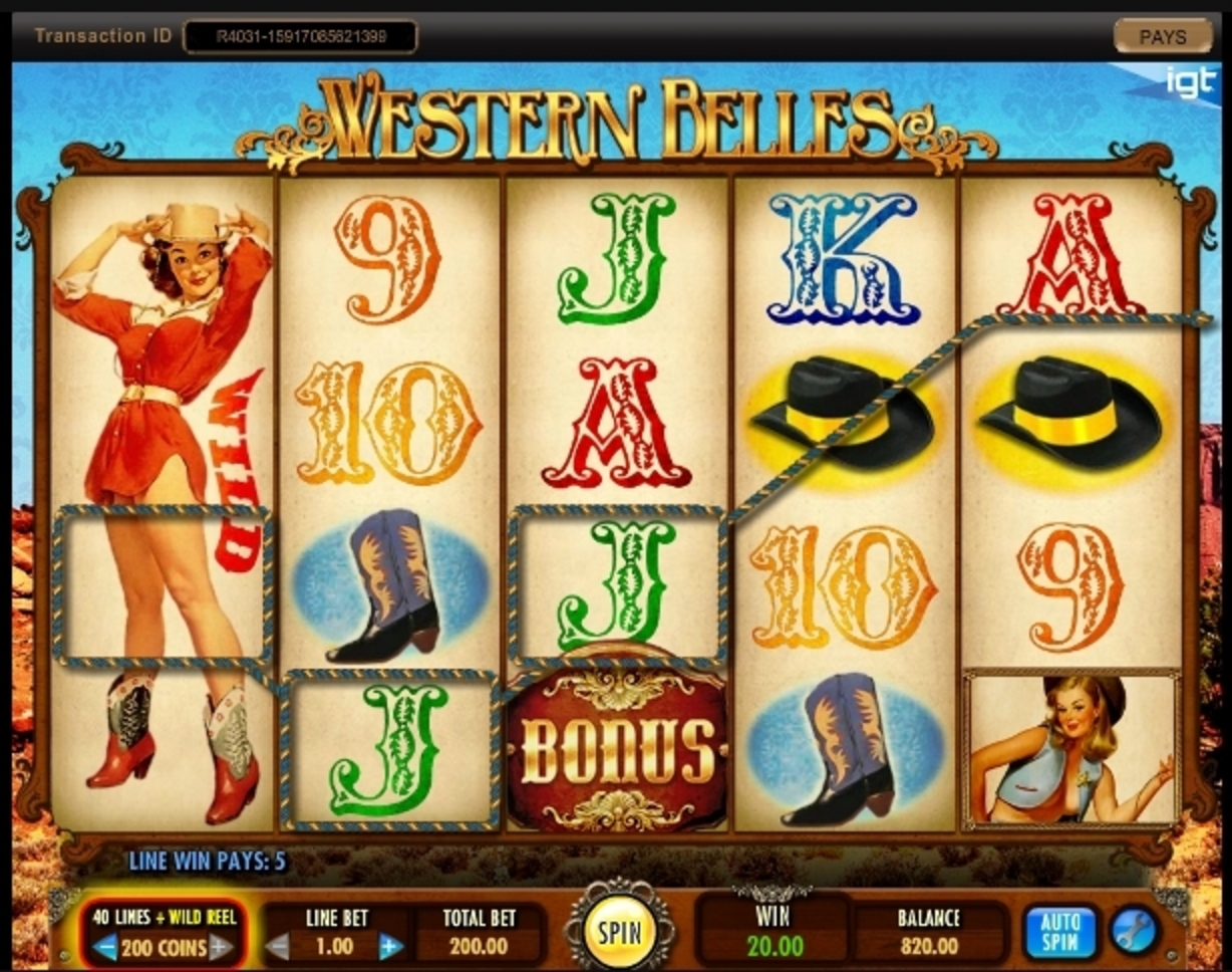 Win Money in Western Belles Free Slot Game by IGT