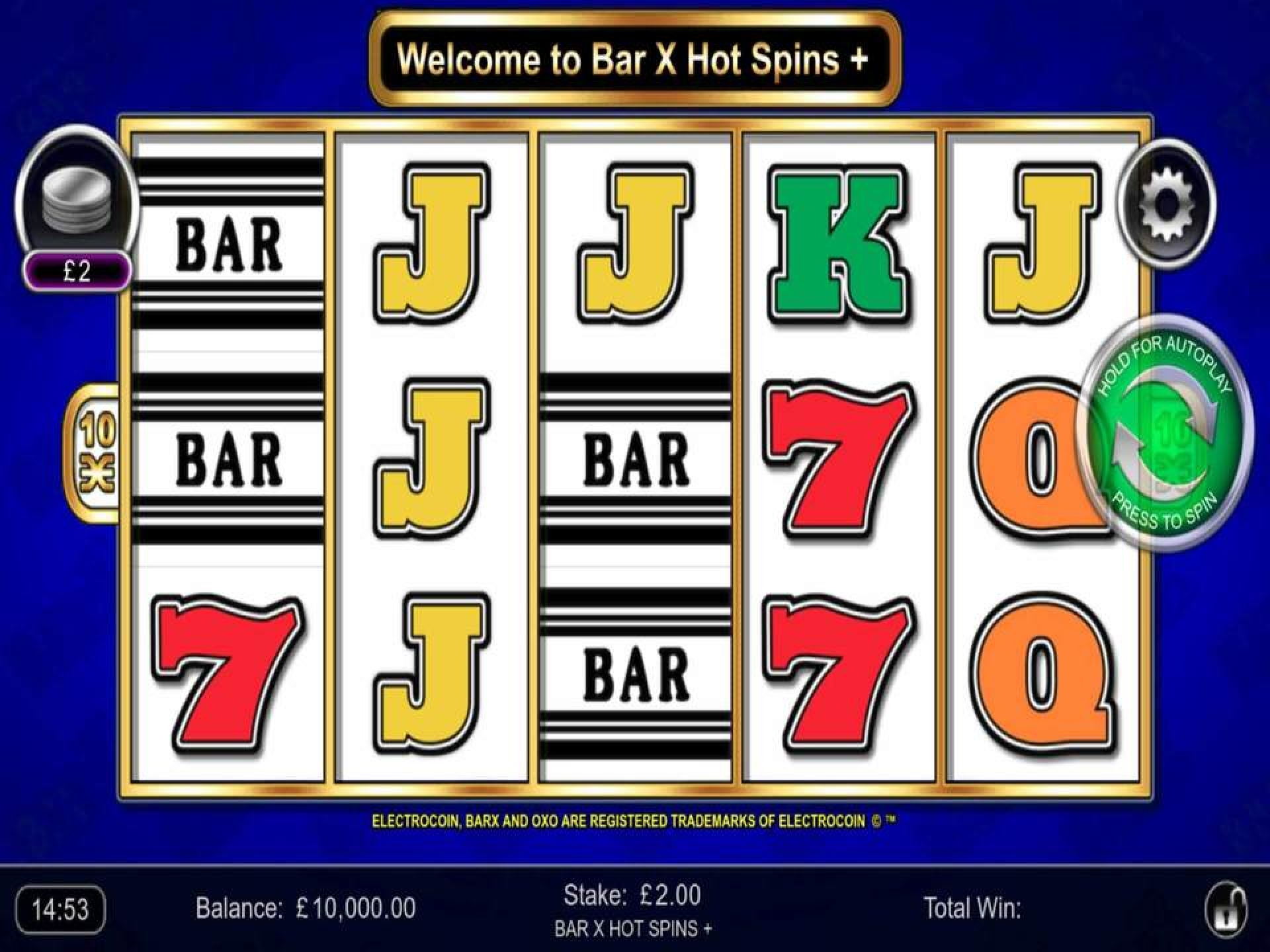 The Bar-X Hot Spins+ Online Slot Demo Game by Inspired Gaming