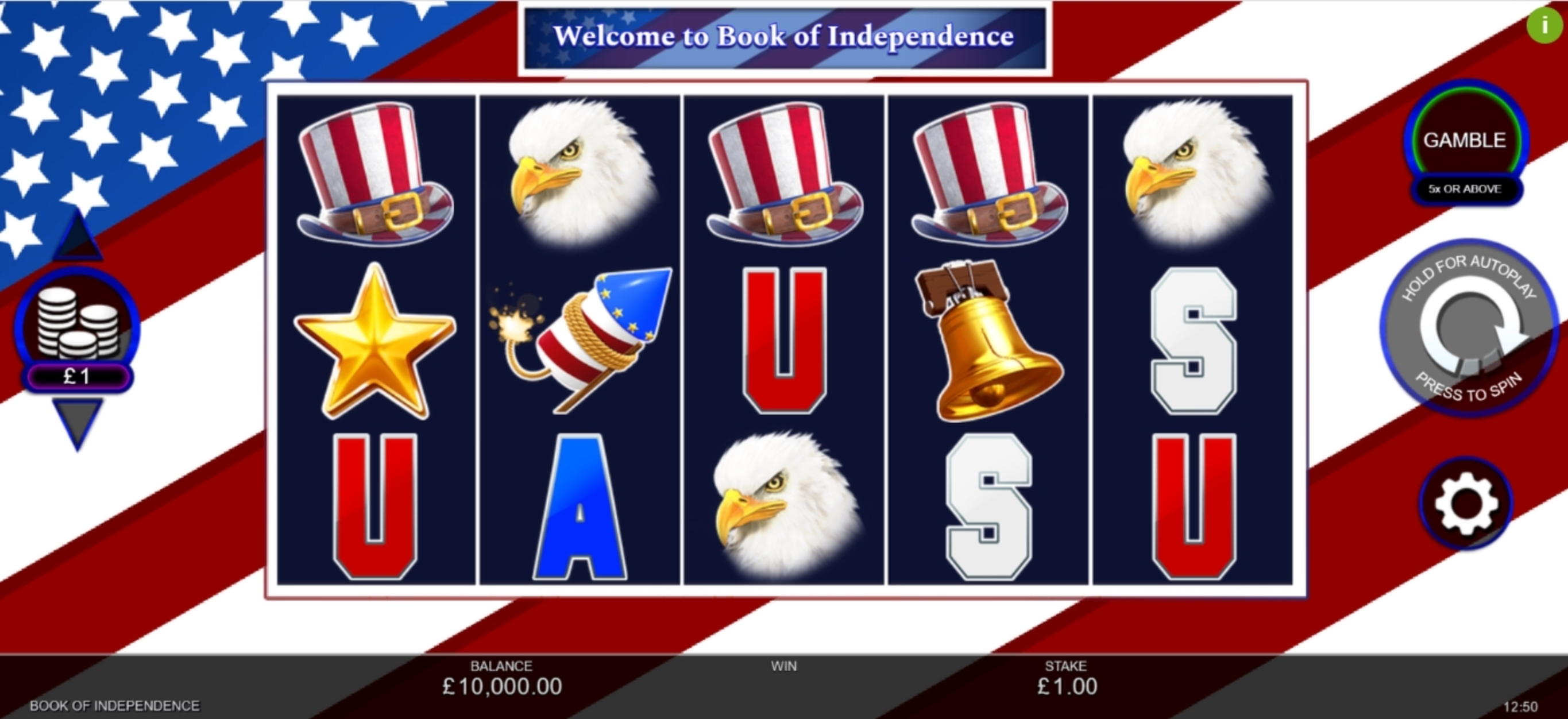 Reels in Book of Independence Slot Game by Inspired Gaming