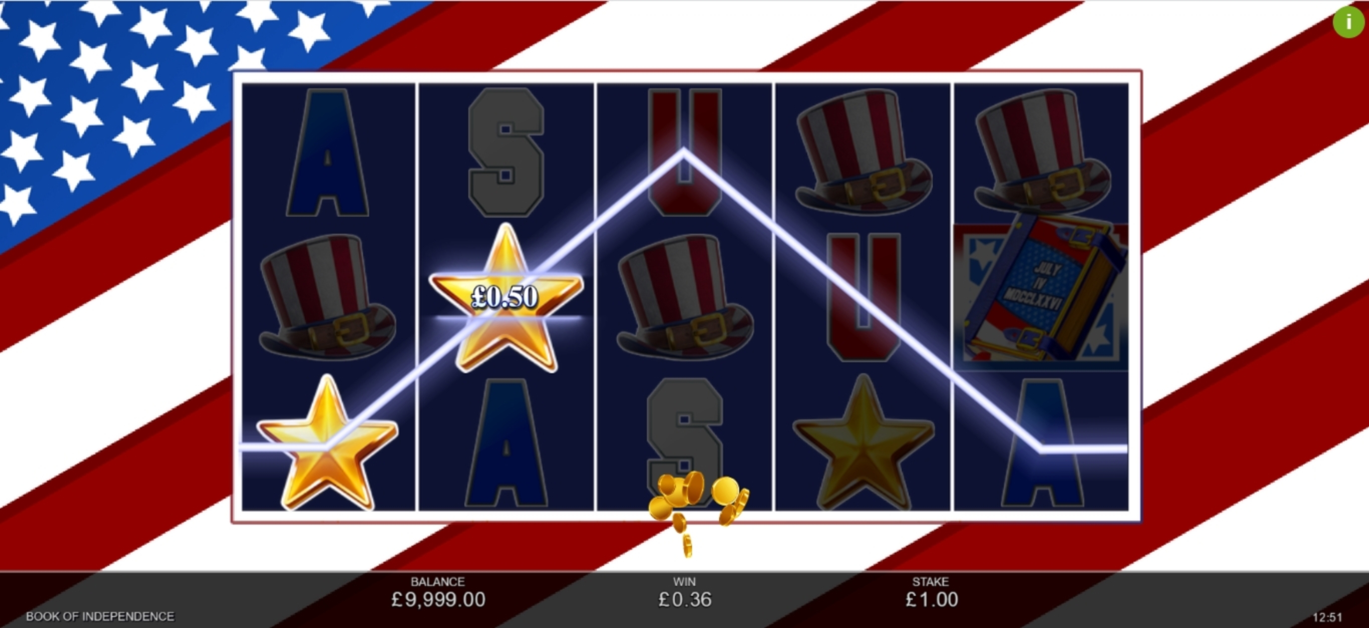 Win Money in Book of Independence Free Slot Game by Inspired Gaming