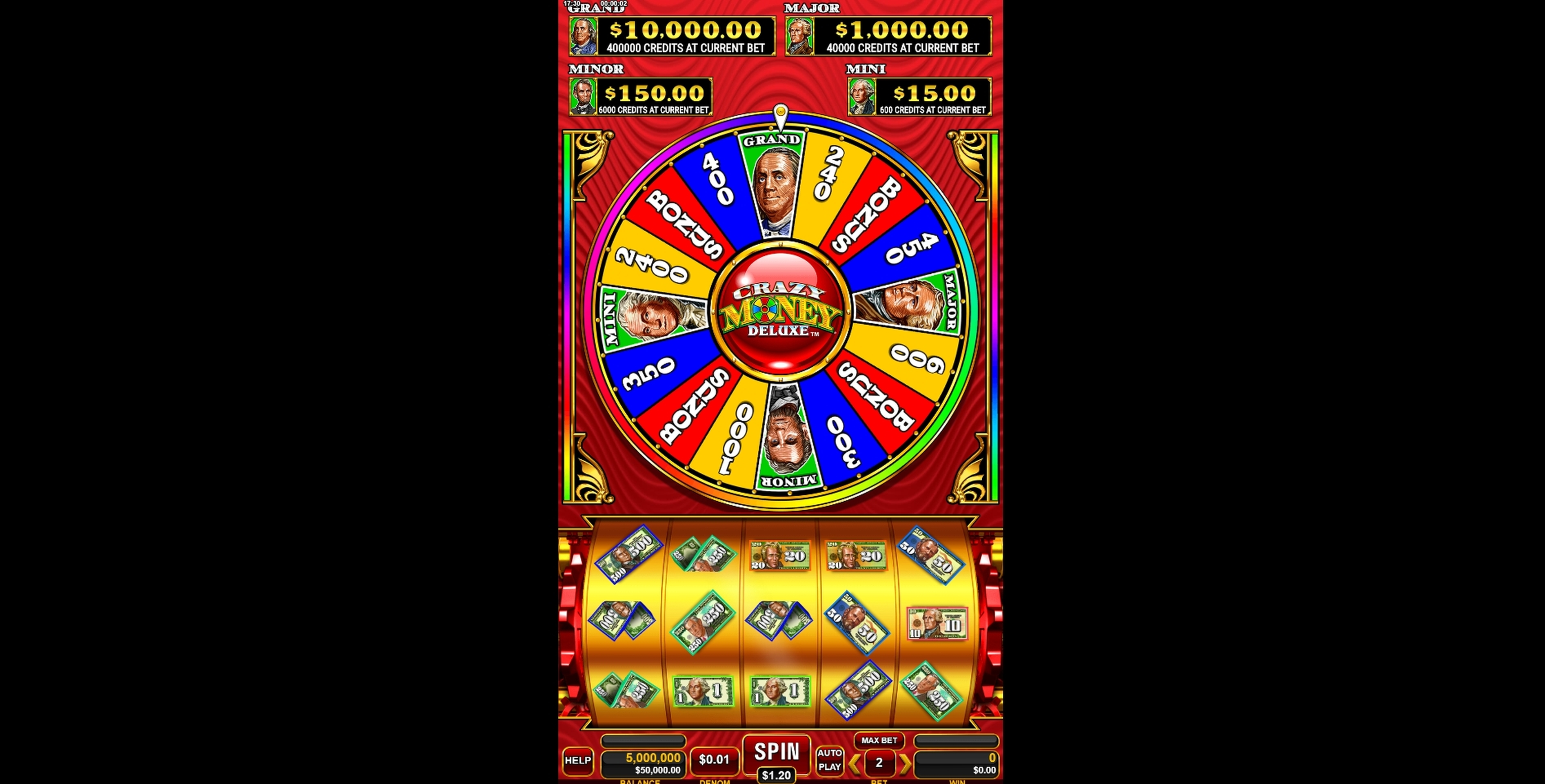 Reels in Crazy Money Deluxe Slot Game by Incredible Technologies