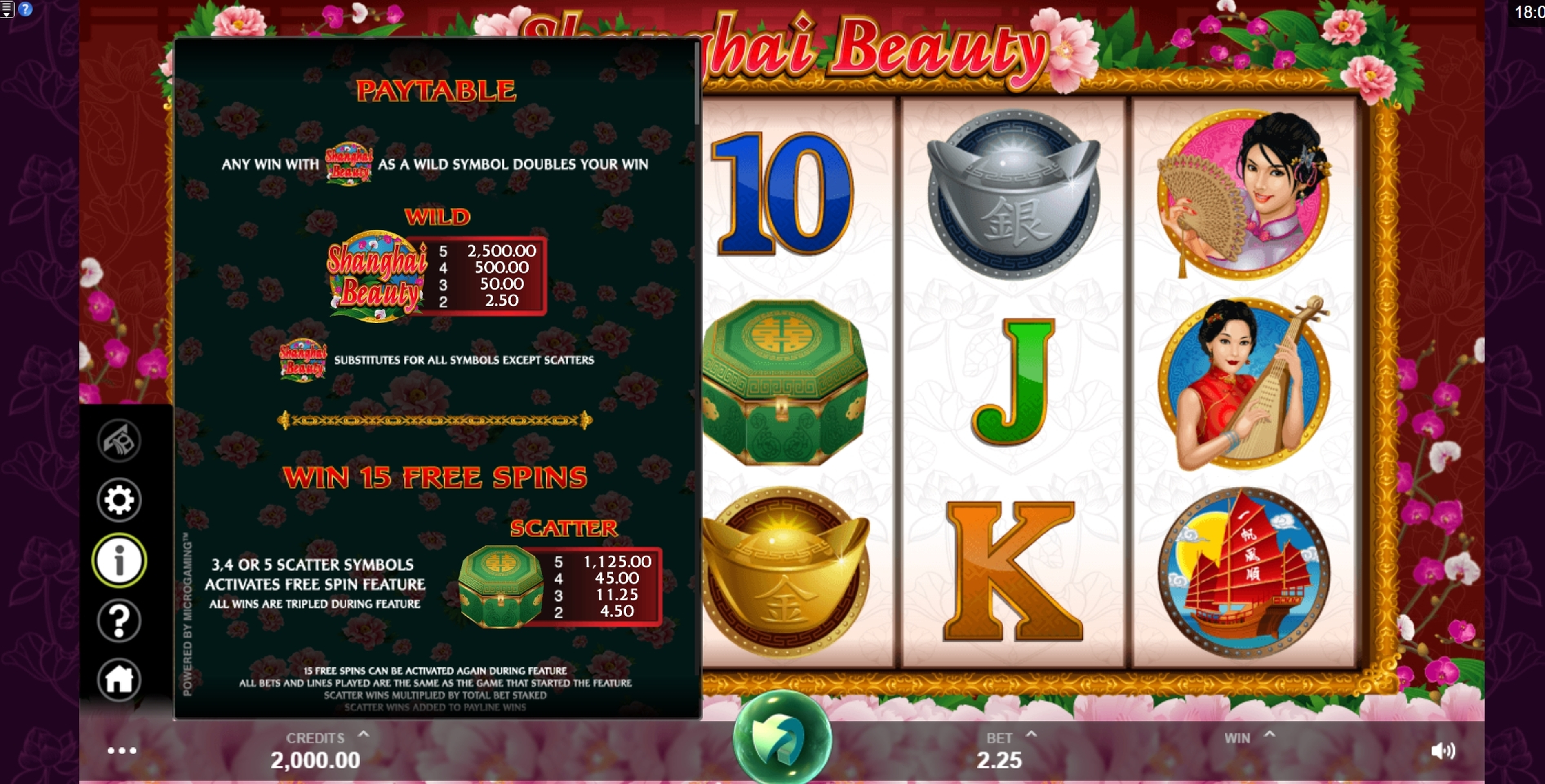 Info of Shanghai Beauty Slot Game by MahiGaming