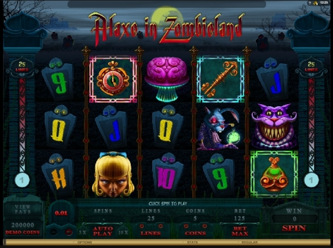 Reels in Alaxe in Zombieland Slot Game by Microgaming