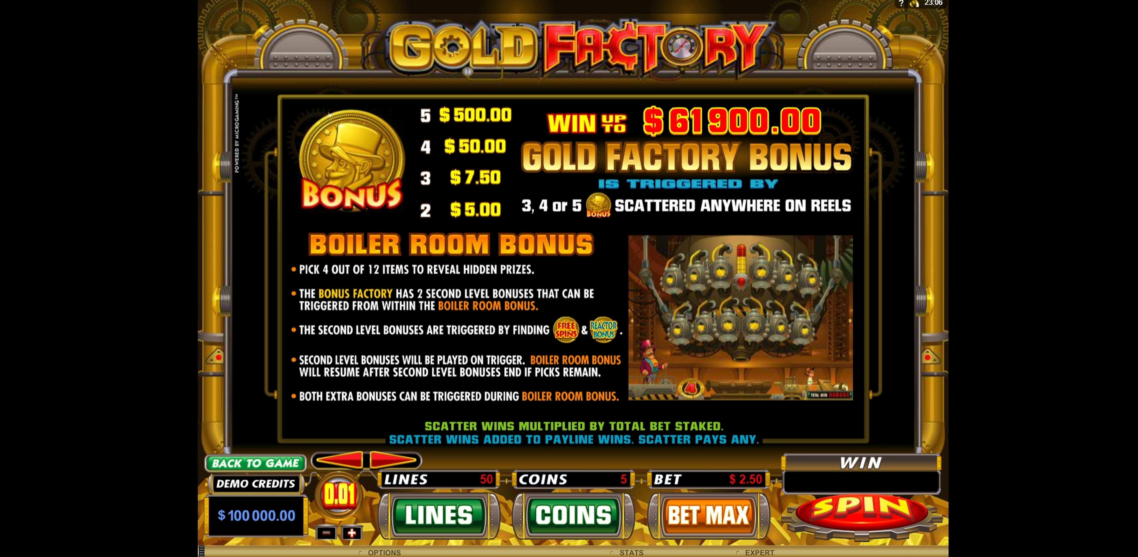 Info of Gold Factory Slot Game by Microgaming