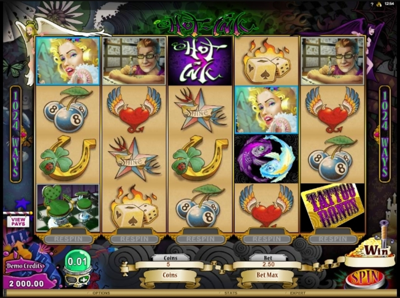 Reels in Hot Ink Slot Game by Microgaming