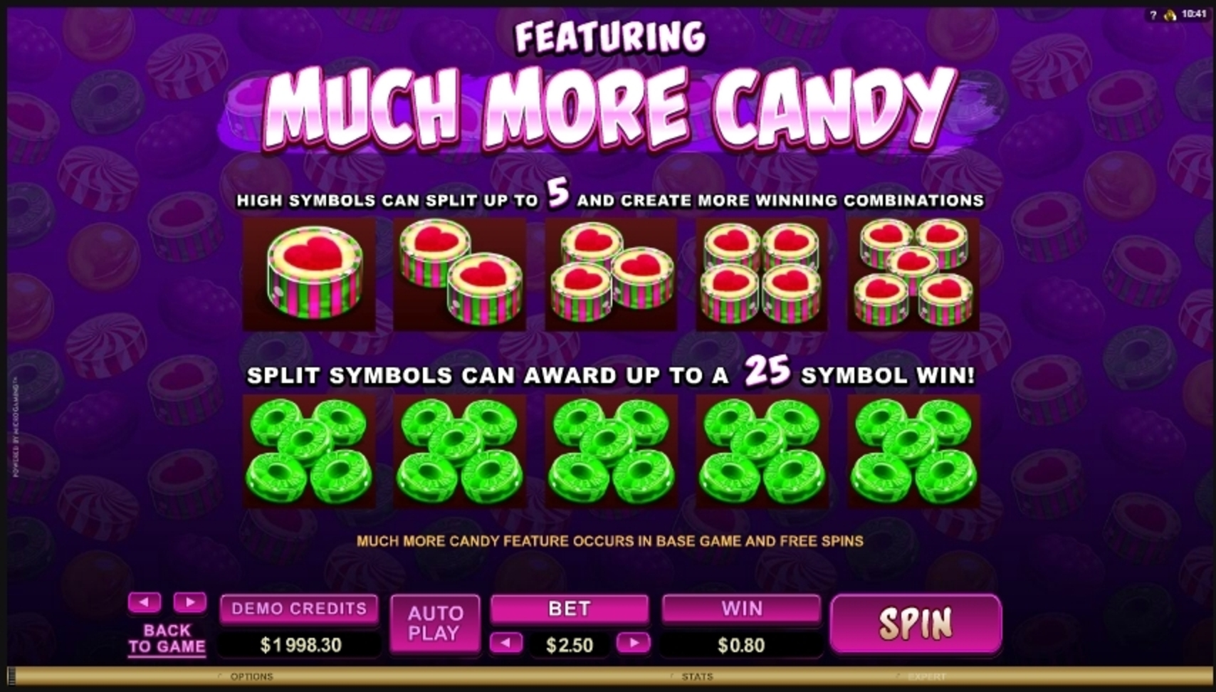 Info of So Much Candy Slot Game by Microgaming