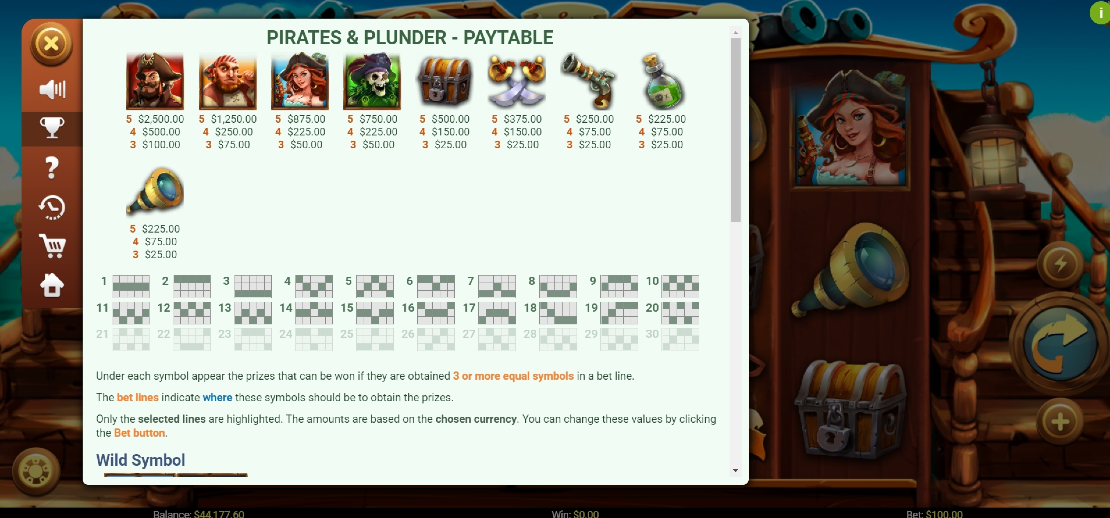 Info of Pirates and Plunder Slot Game by Mobilots