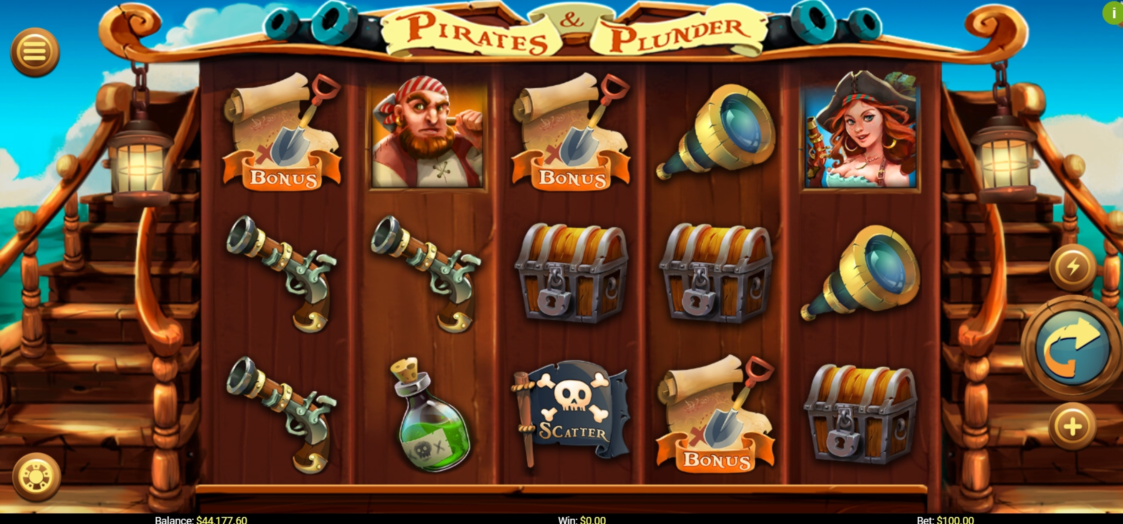 Reels in Pirates and Plunder Slot Game by Mobilots