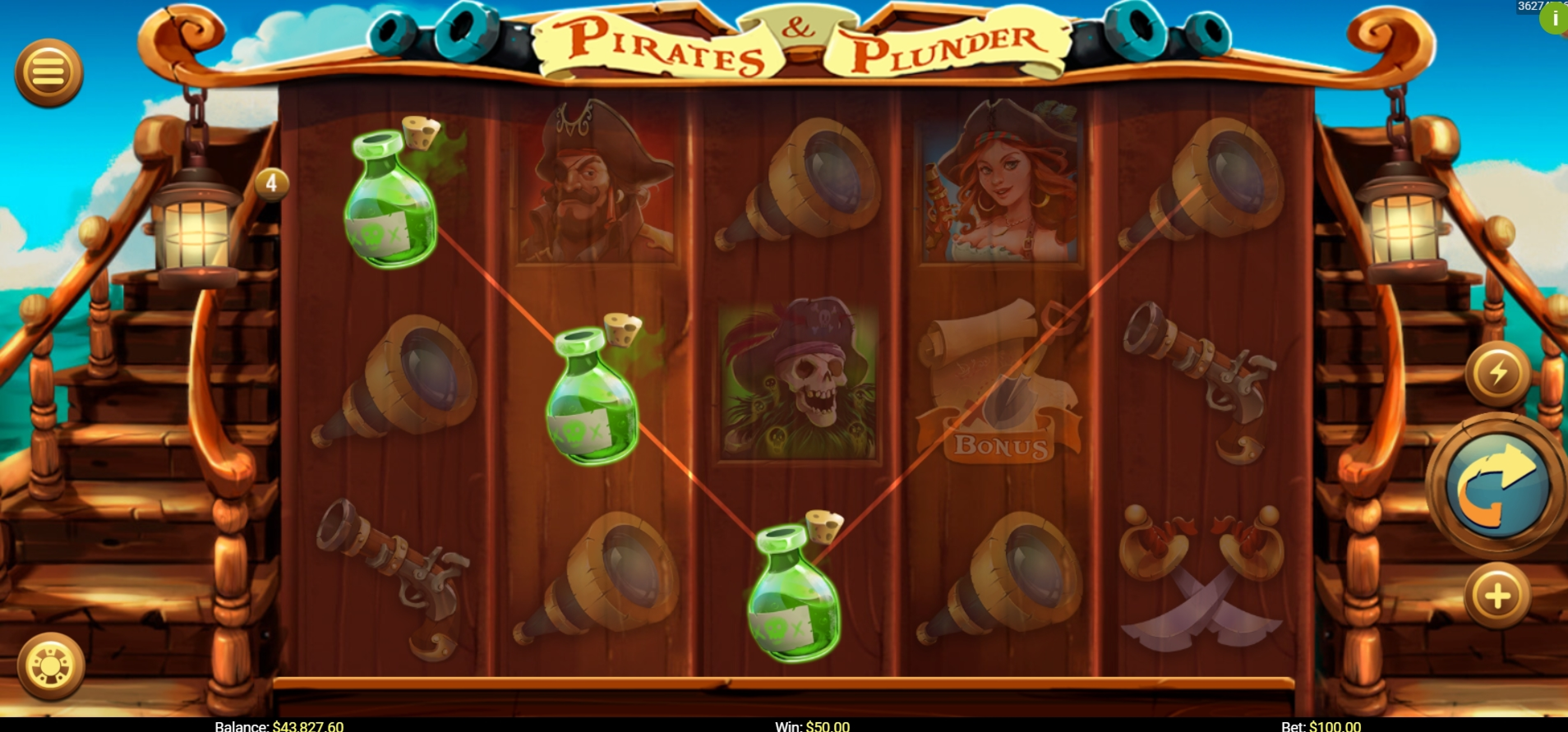 Win Money in Pirates and Plunder Free Slot Game by Mobilots