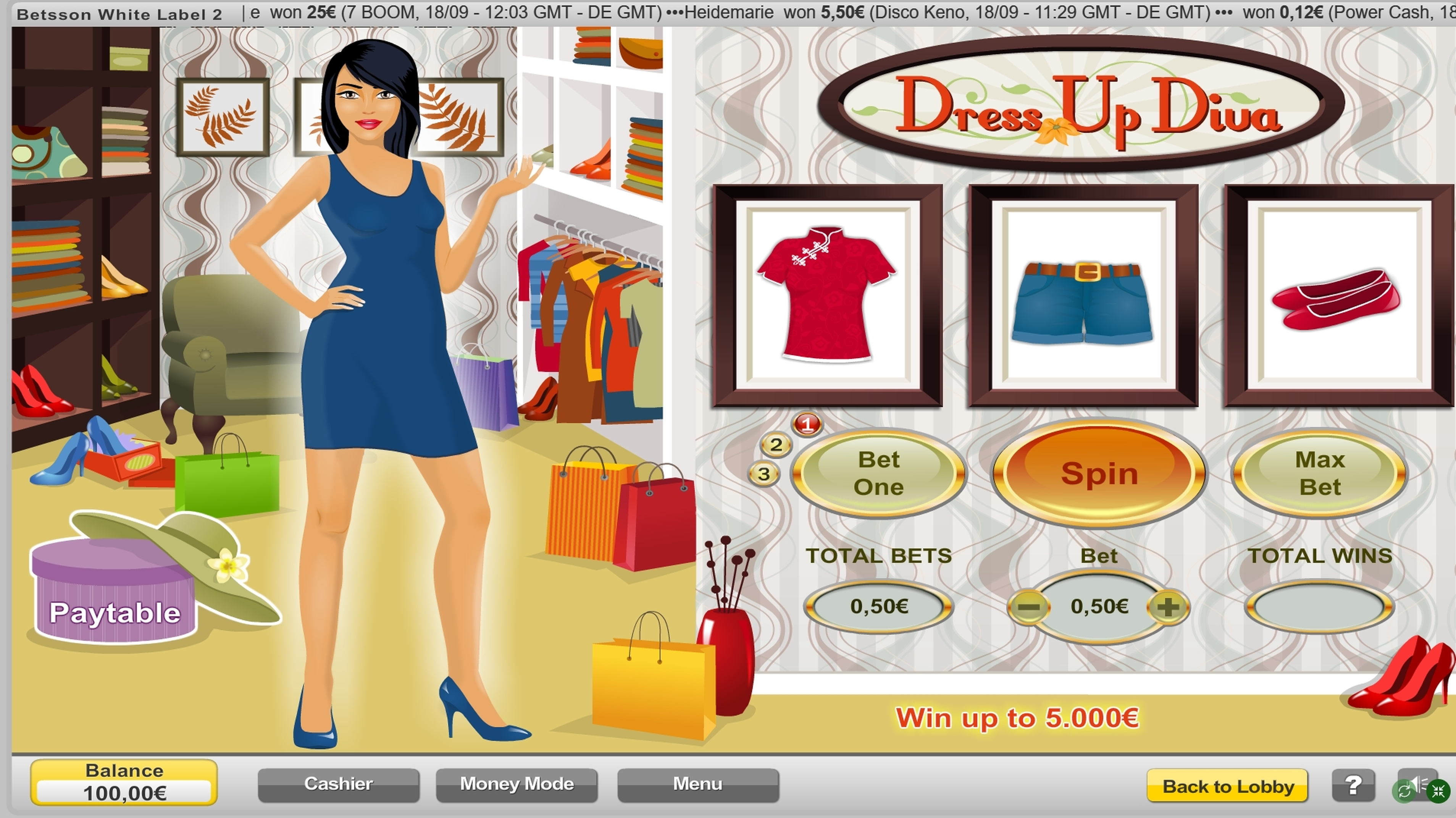 Reels in Dress Up Diva Slot Game by NeoGames
