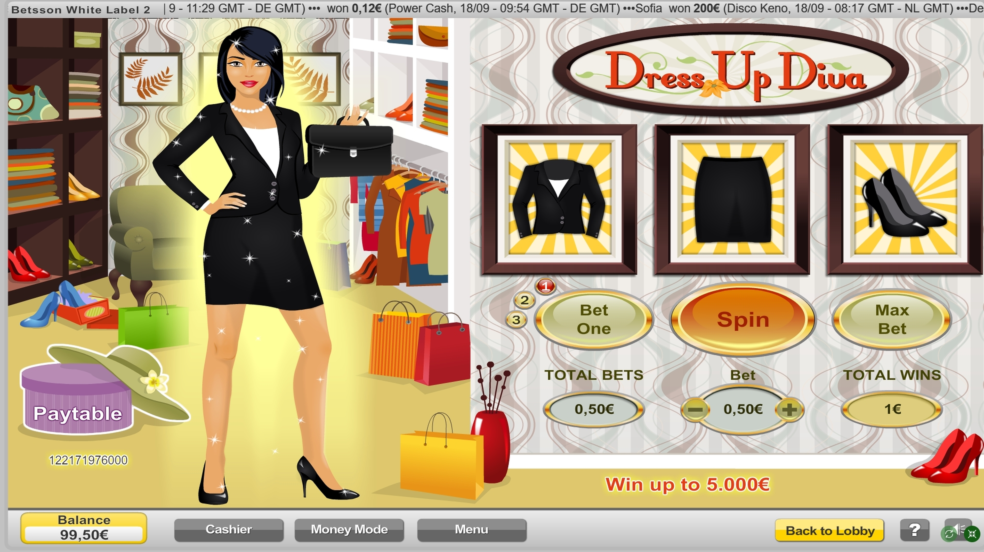 Win Money in Dress Up Diva Free Slot Game by NeoGames