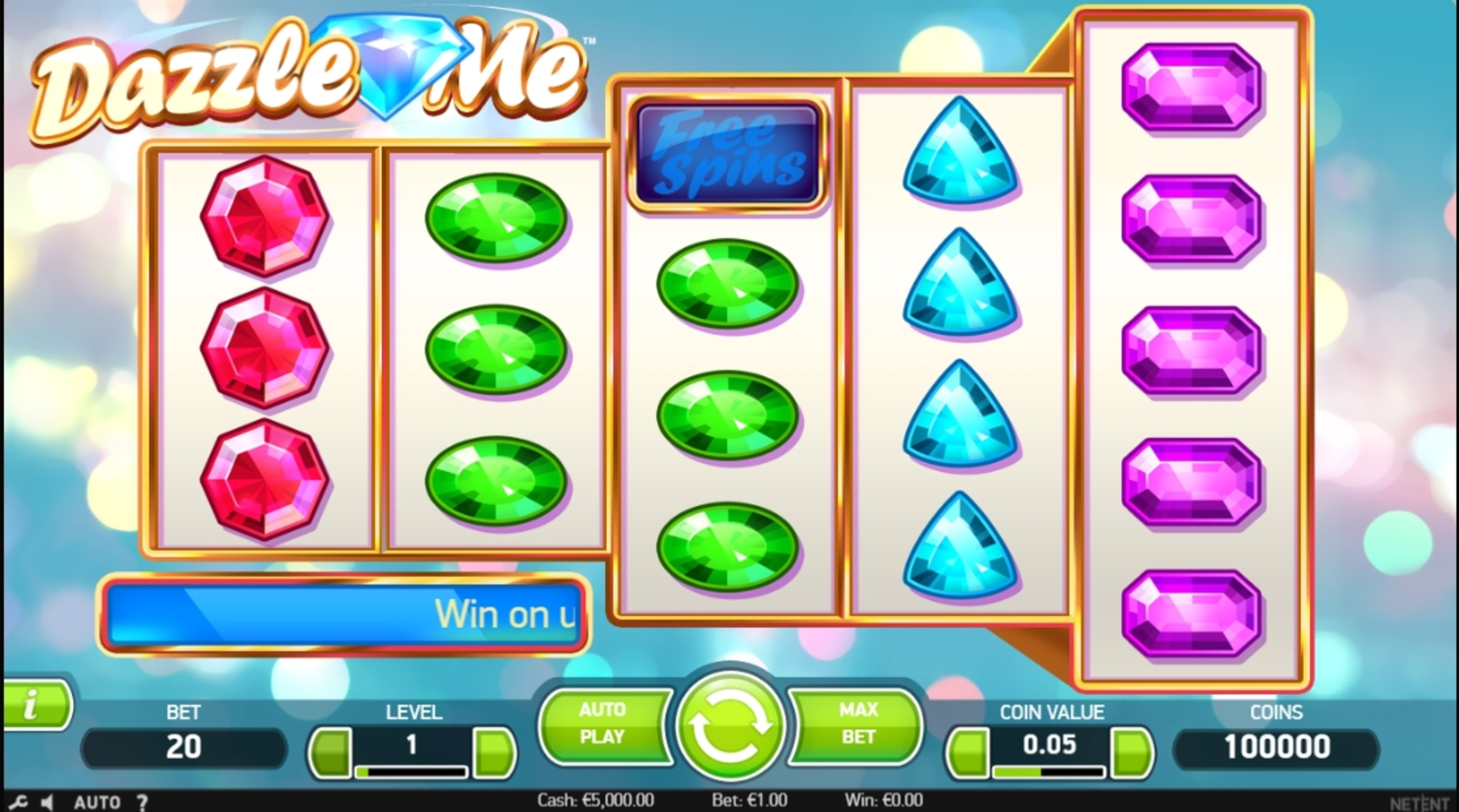 Reels in Dazzle Me Slot Game by NetEnt