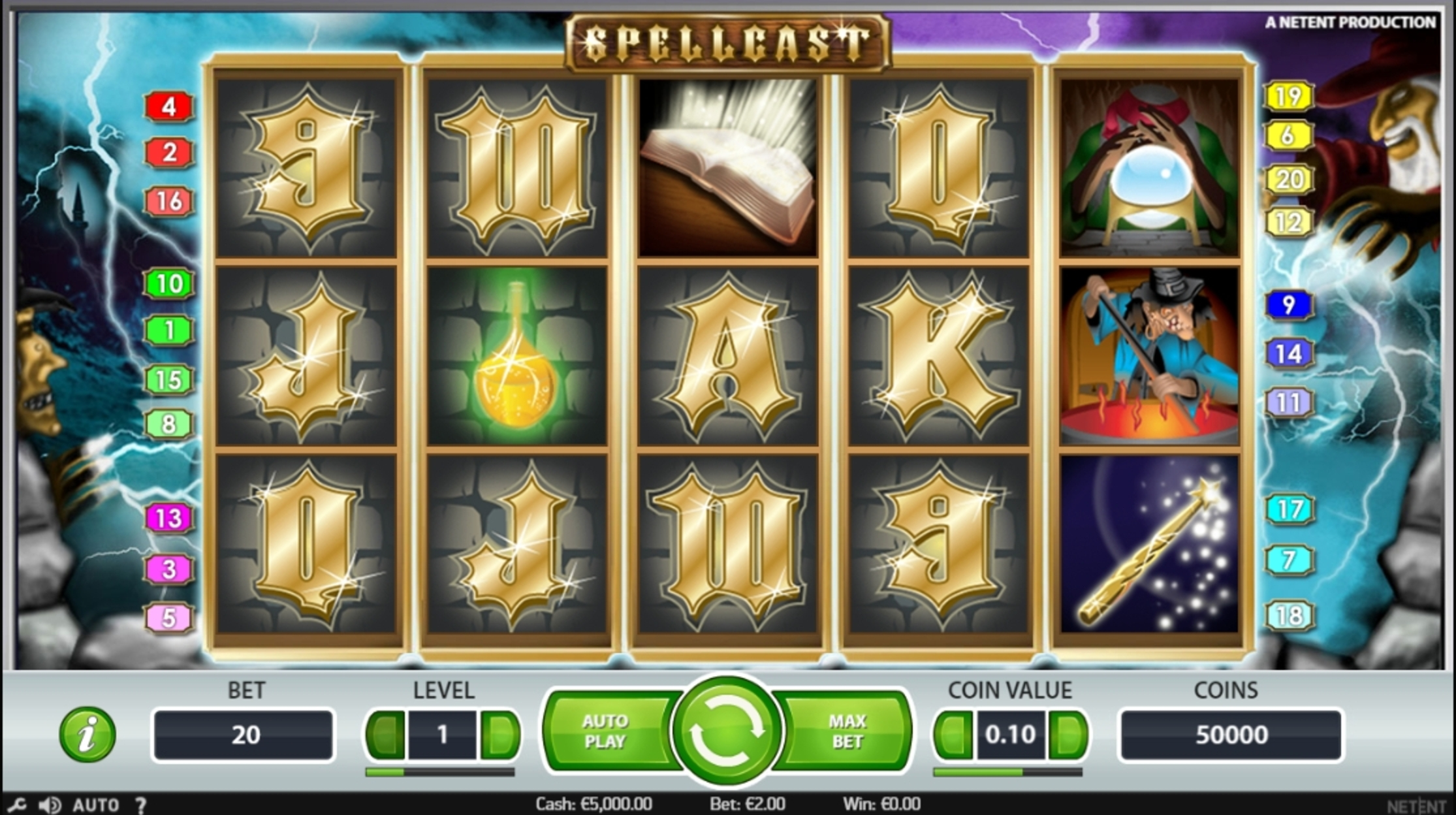 Reels in Spellcast Slot Game by NetEnt