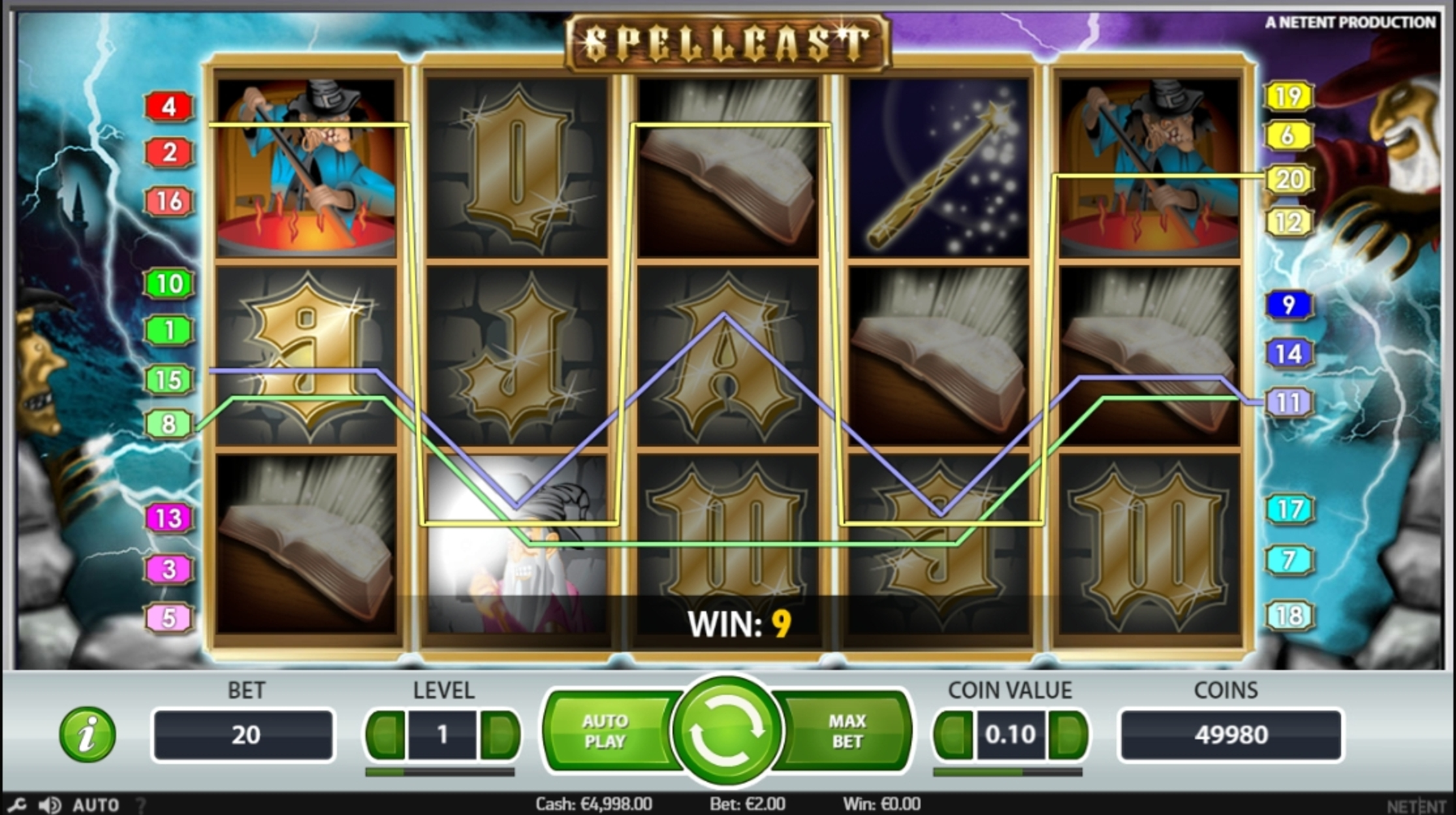 Win Money in Spellcast Free Slot Game by NetEnt