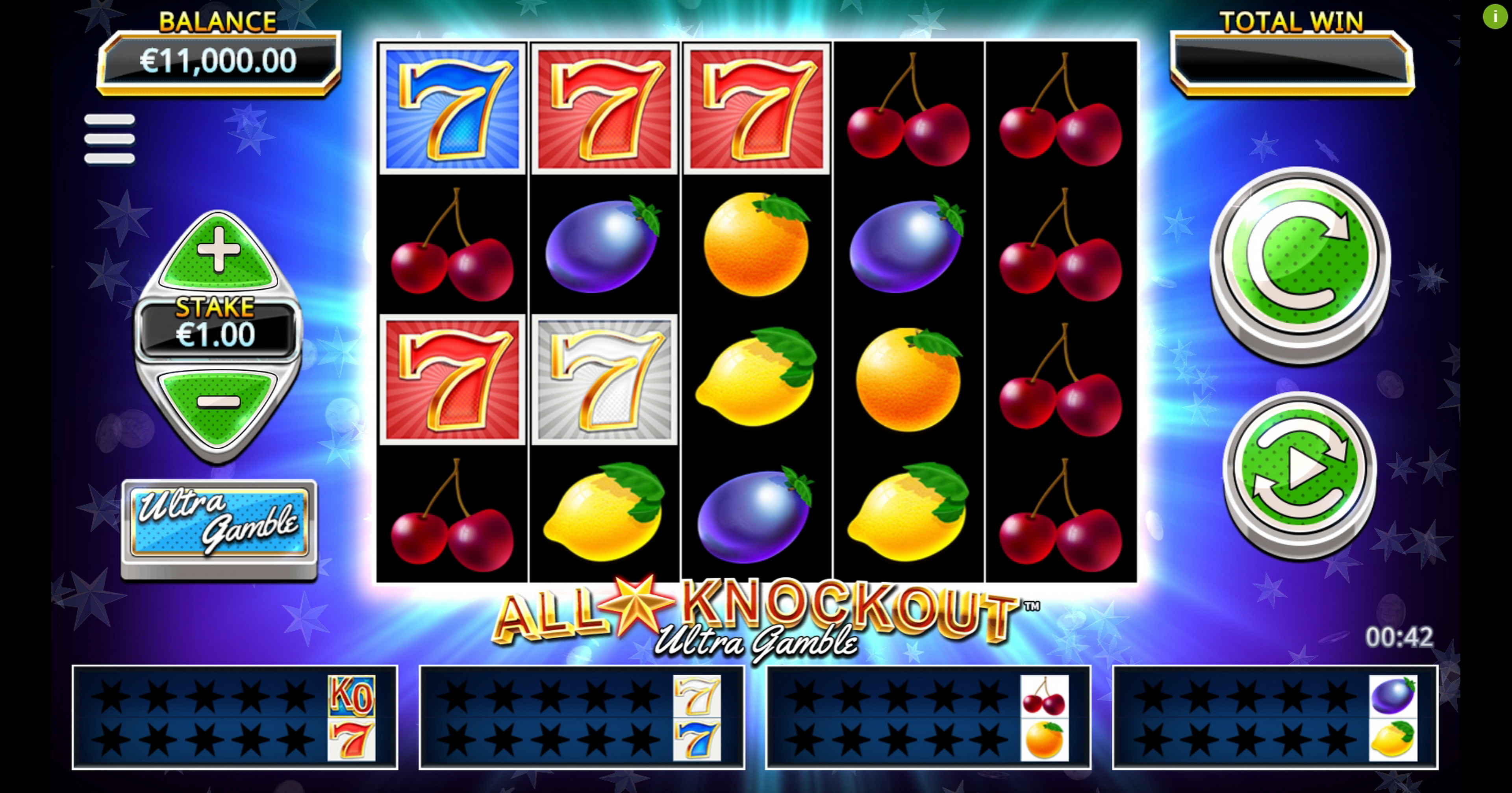 Reels in All Star Knockout Ultra Gamble Slot Game by Northern Lights Gaming