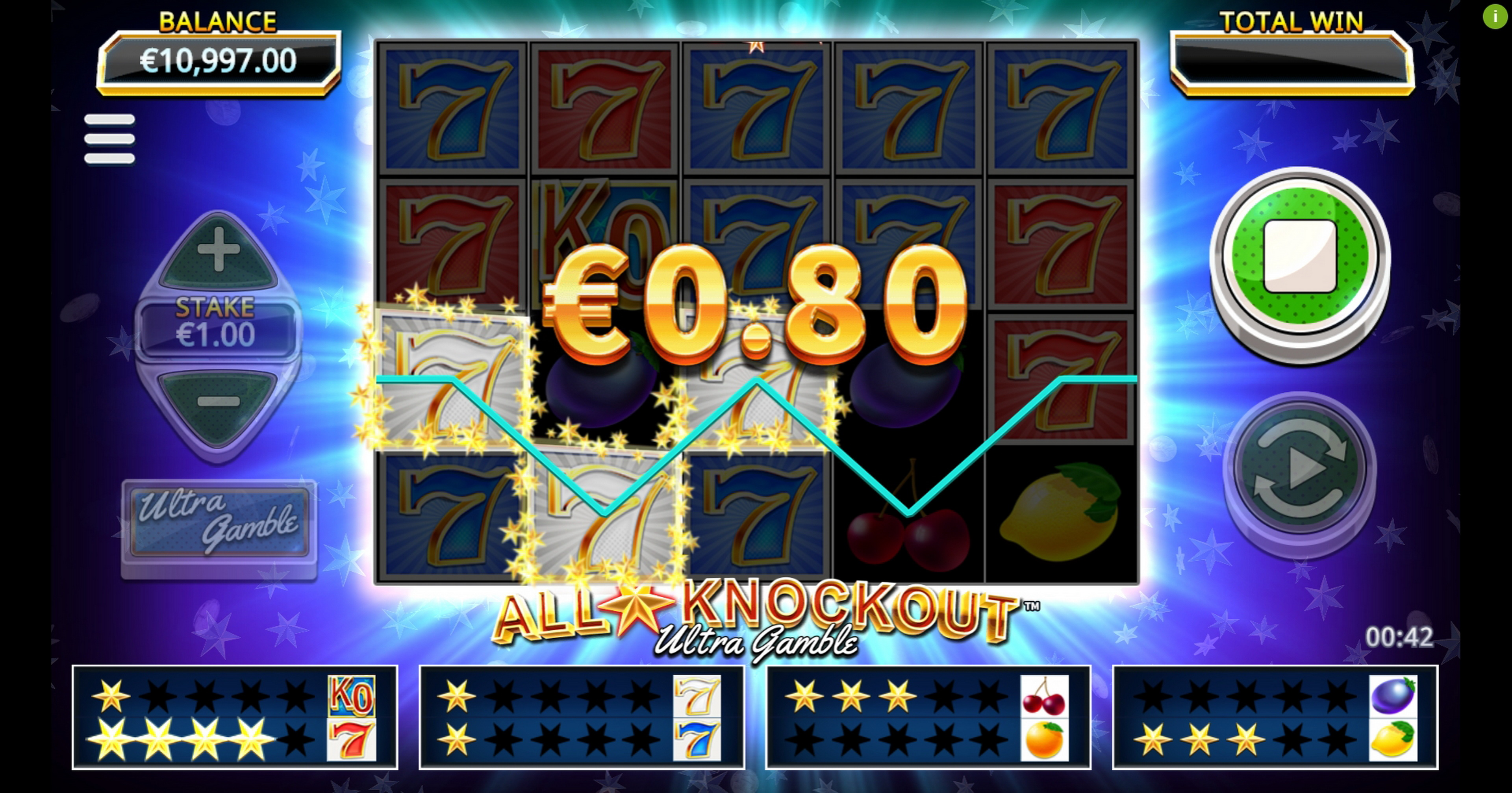 Win Money in All Star Knockout Ultra Gamble Free Slot Game by Northern Lights Gaming